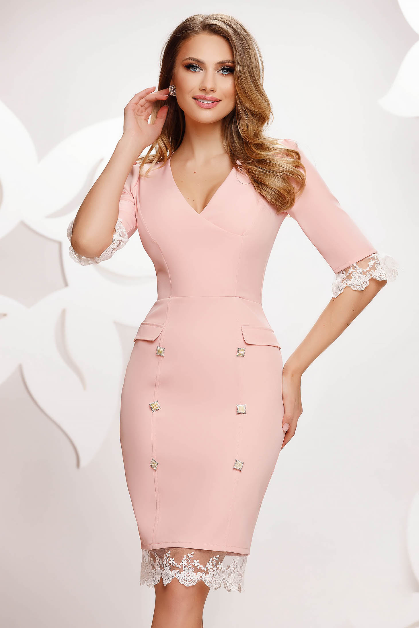 Lightpink dress midi pencil with button accessories with lace details
