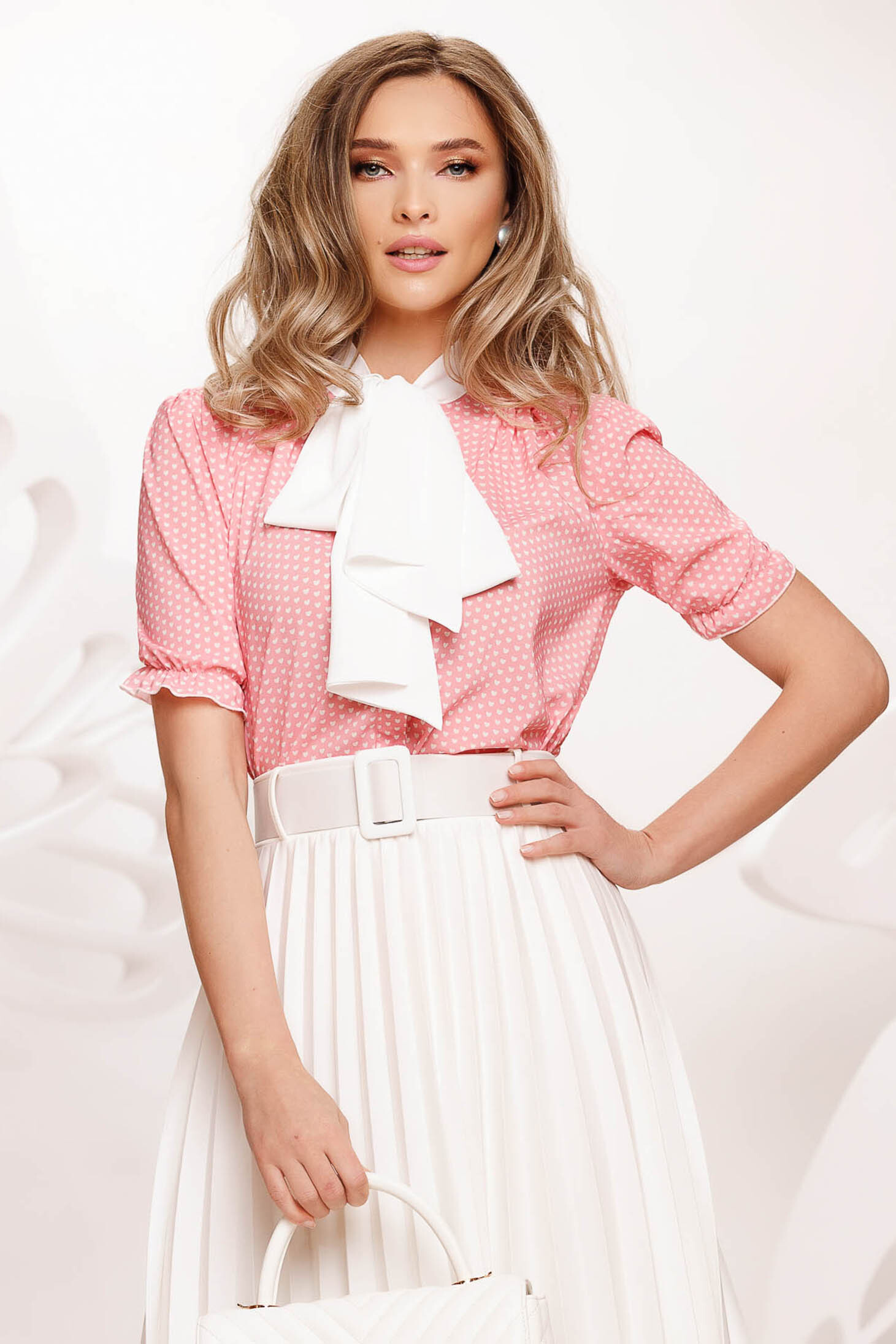 Pink women`s blouse from veil fabric slightly elastic fabric bow accessory dots print