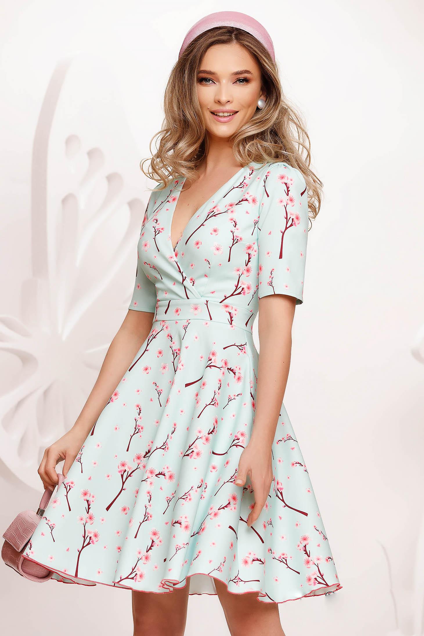 Lightgreen dress cloche slightly elastic fabric midi with v-neckline