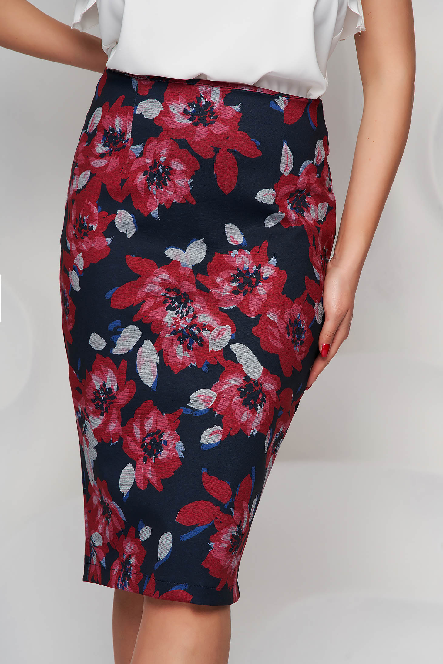 Skirt pencil midi StarShinerS office cloth from elastic fabric