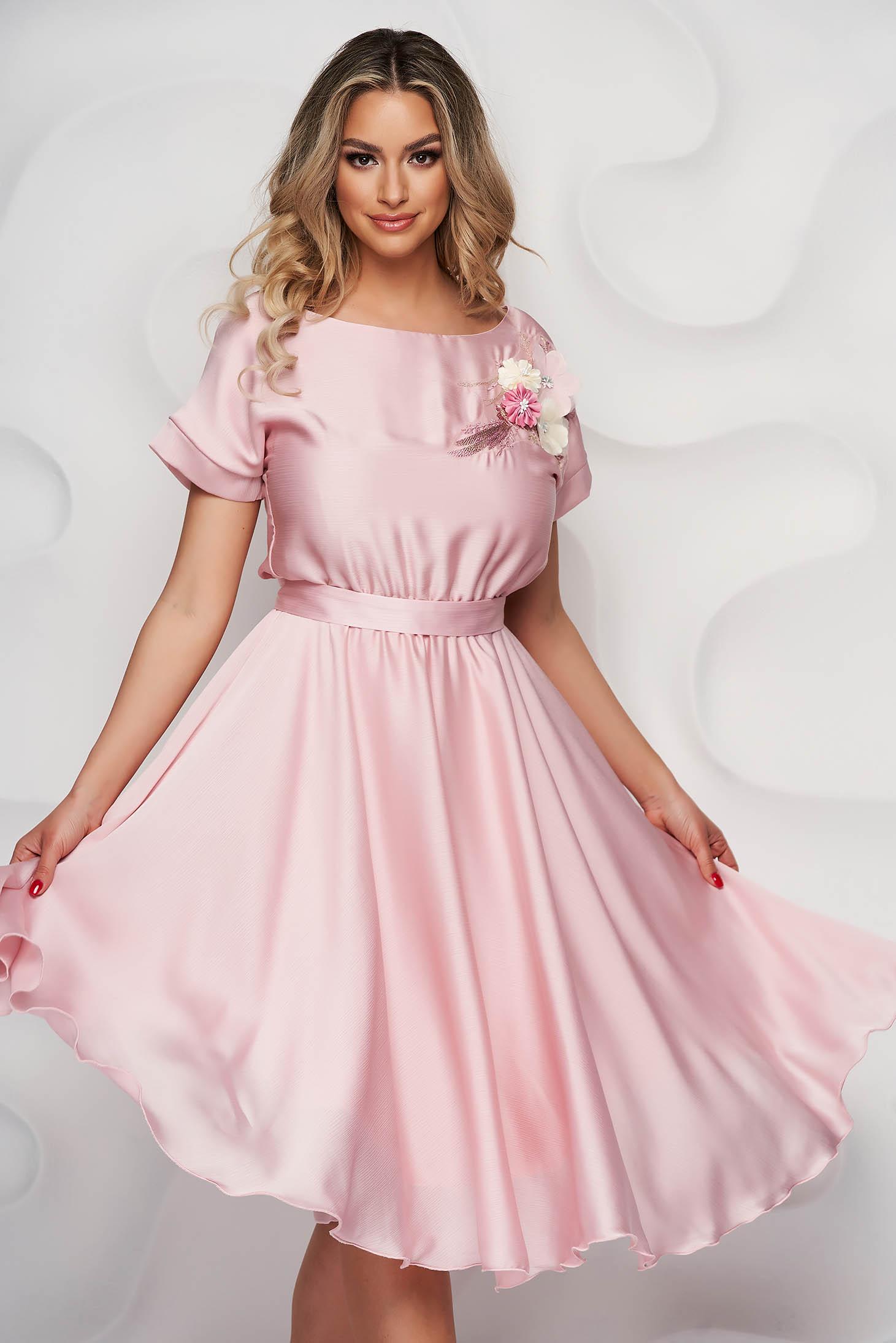 StarShinerS lightpink dress elegant cloche with elastic waist midi