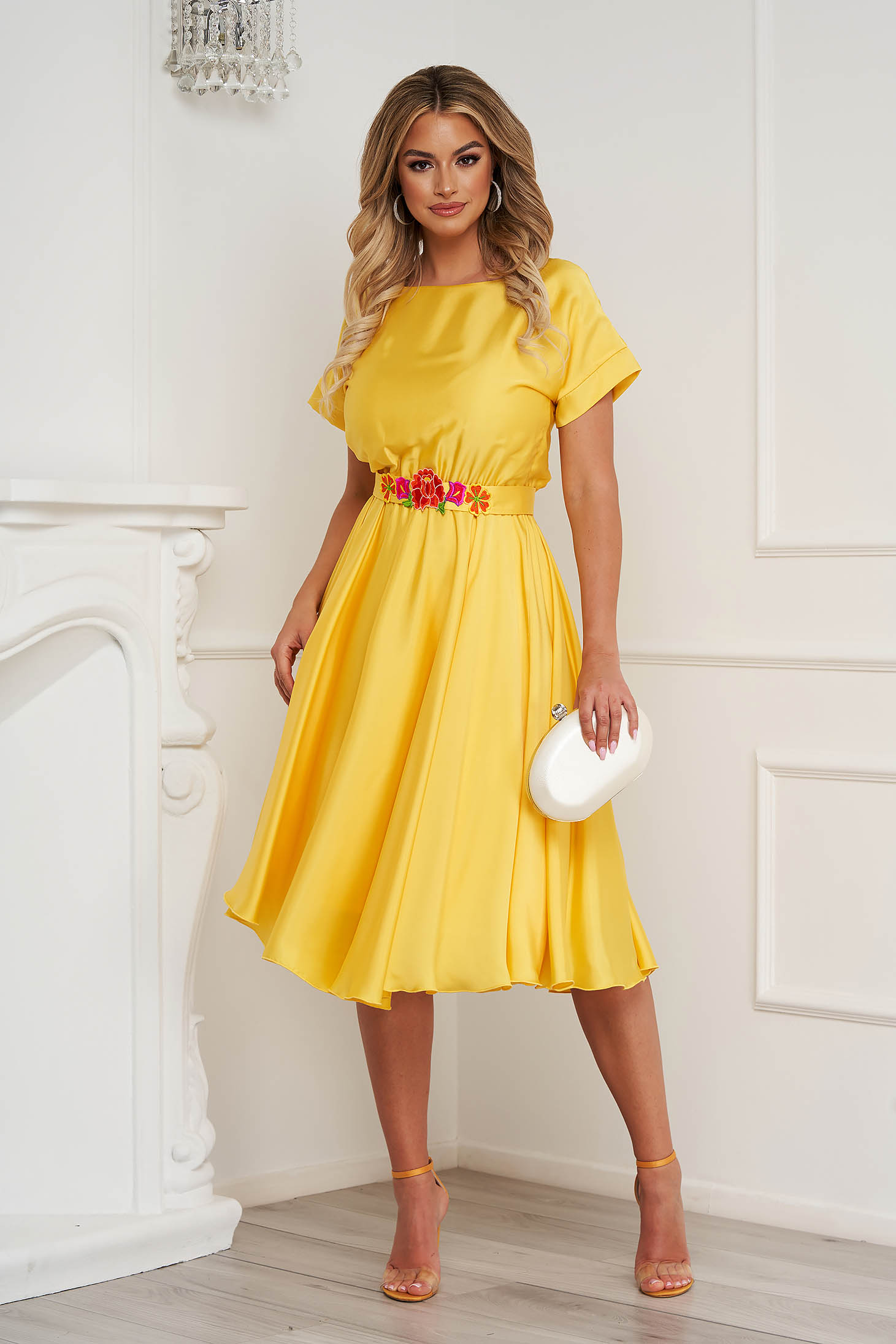 StarShinerS yellow dress asymmetrical occasional from satin fabric texture