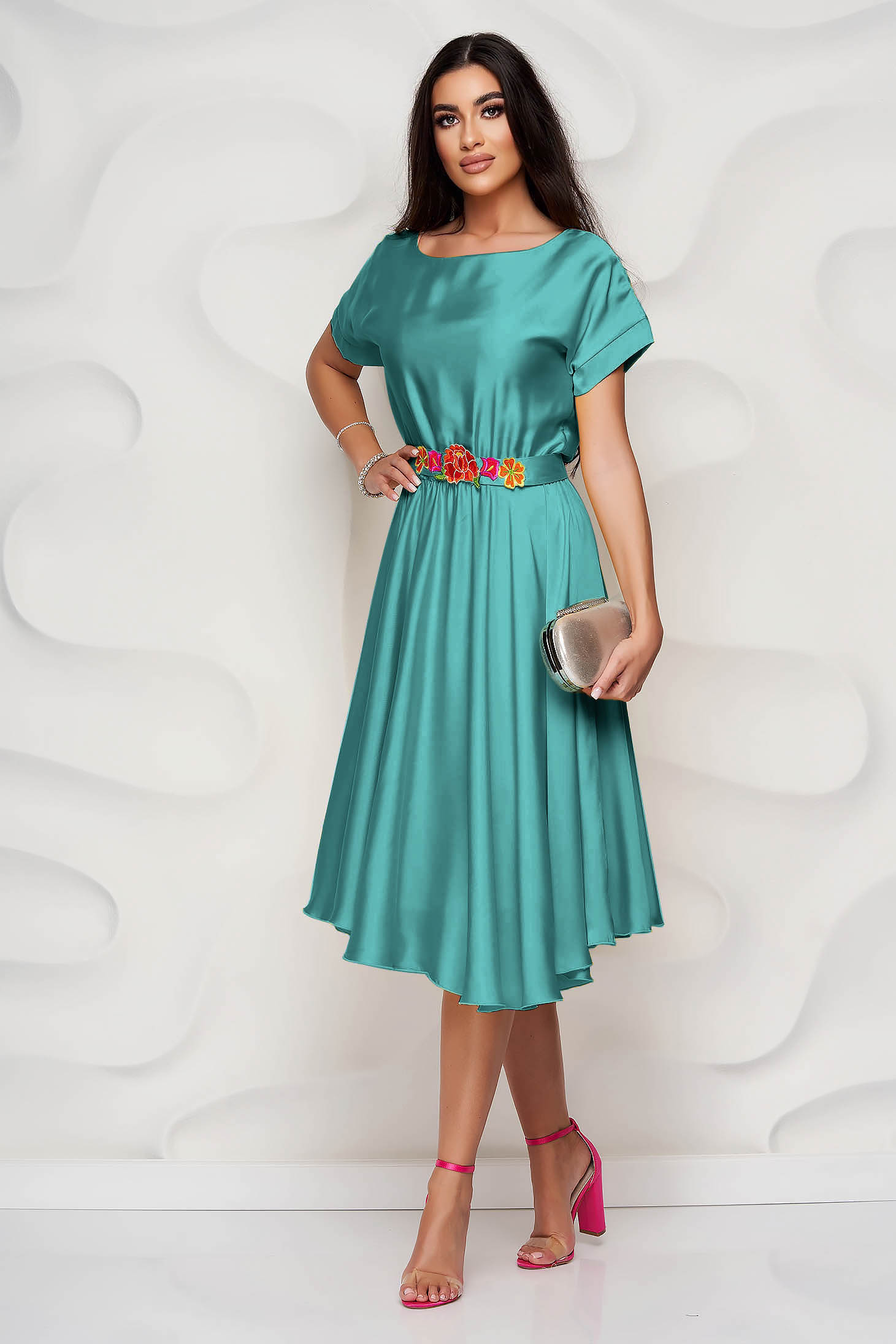 StarShinerS green dress asymmetrical occasional from satin fabric texture