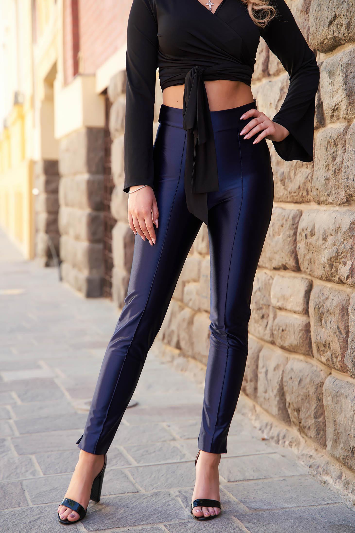 Pantaloni StarShinerS albastru-inchis eleganti din material usor elastic si croi conic