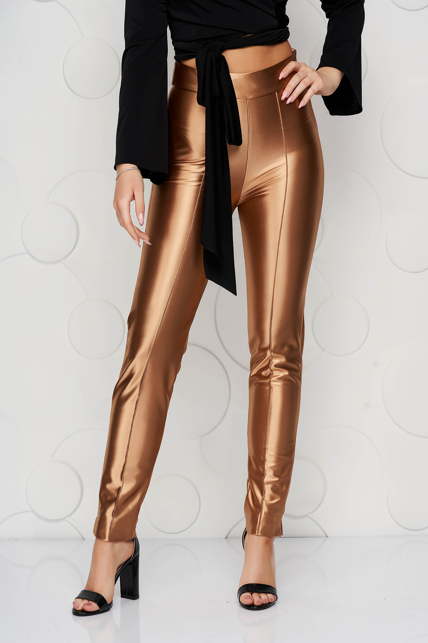 Pantaloni StarShinerS aurii eleganti din material usor elastic si croi conic