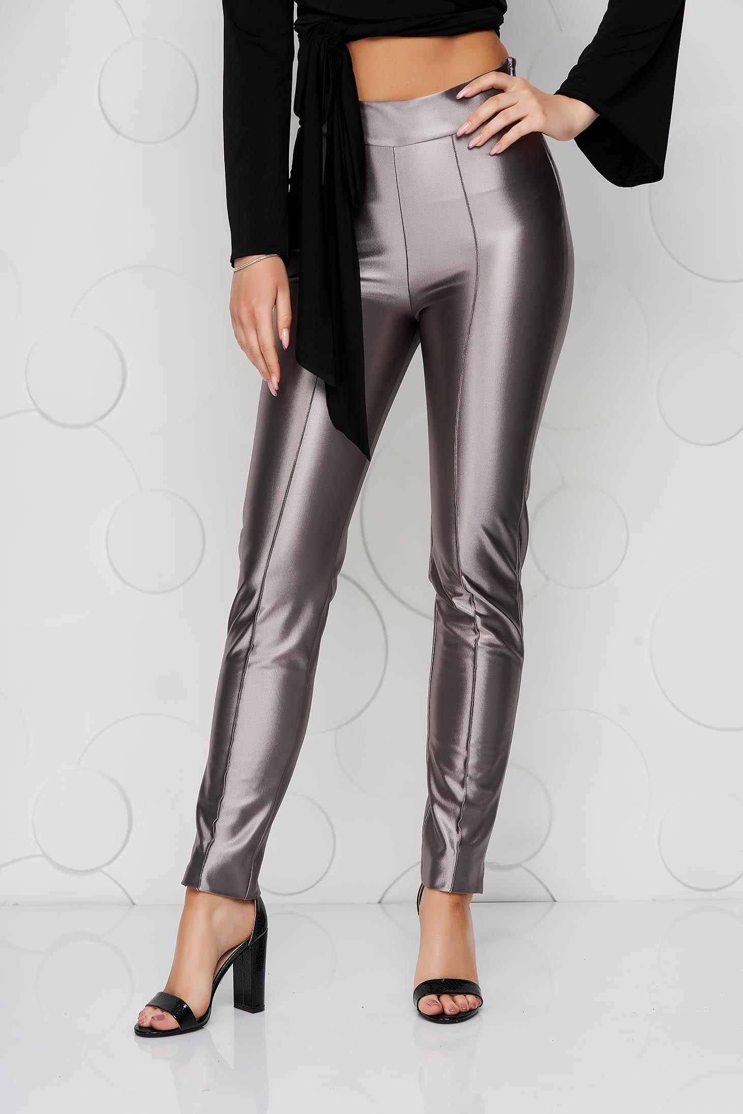 Ezüstszínű StarShinerS elegáns kónikus nadrág enyhén rugalmas anyagból