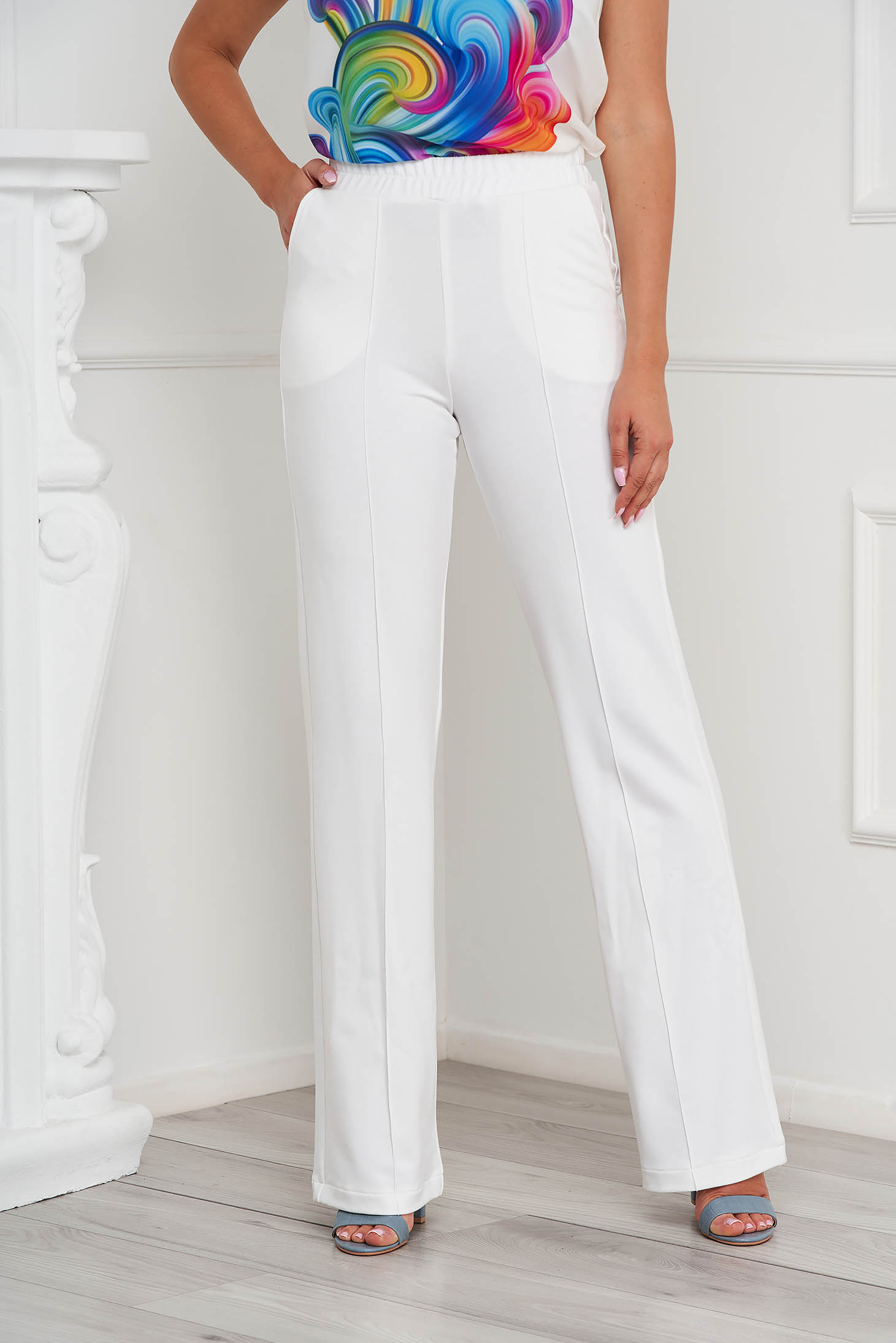 StarShinerS ivory trousers casual with pockets loose fit