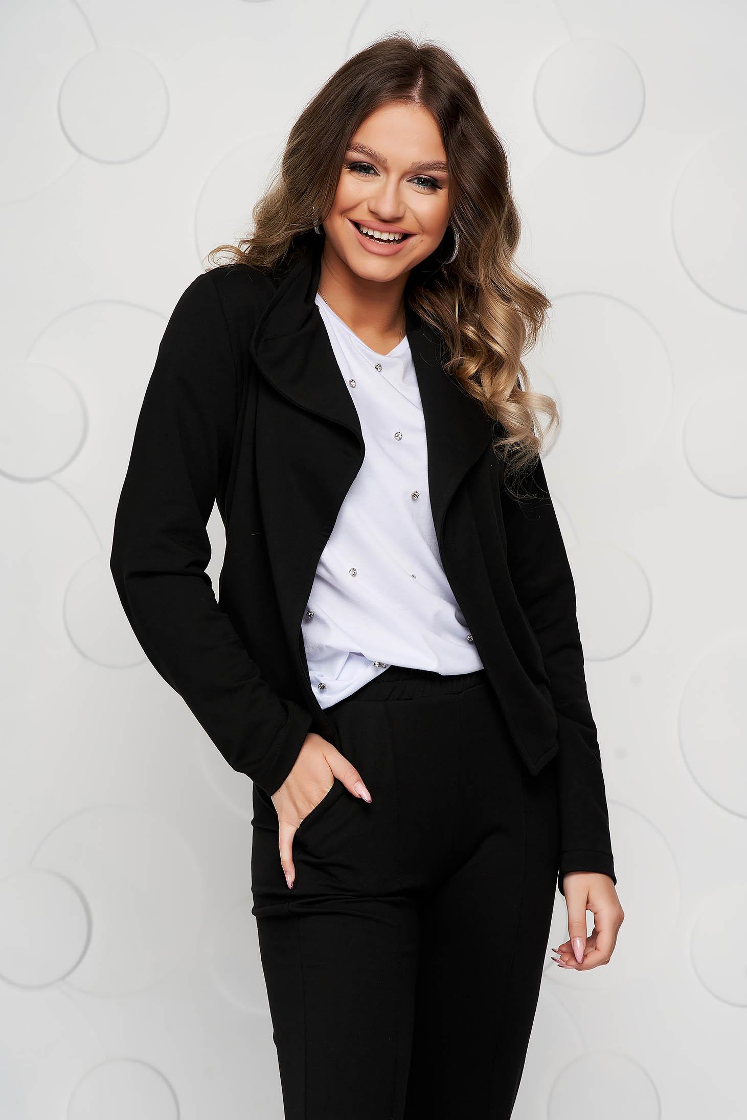 Cardigan StarShinerS negru cu croi larg din material elastic tip jersey