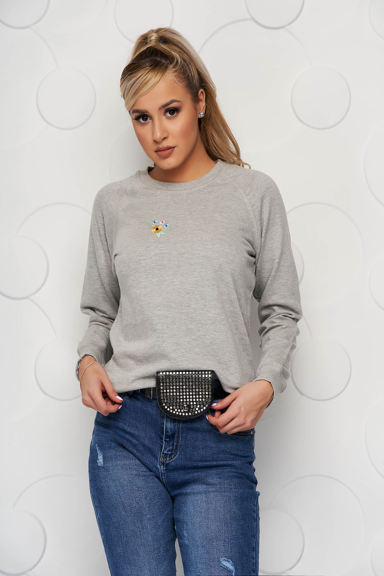 StarShinerS grey women`s blouse casual neckline