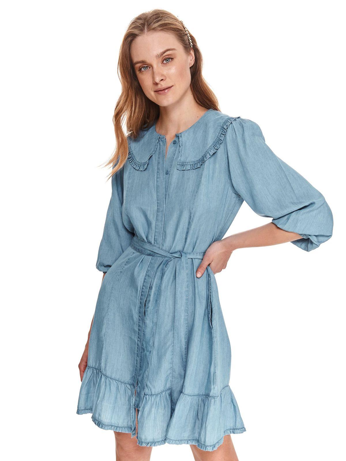 Rochie Top Secret albastru-deschis scurta subtire de blugi cu croi drept si volanase