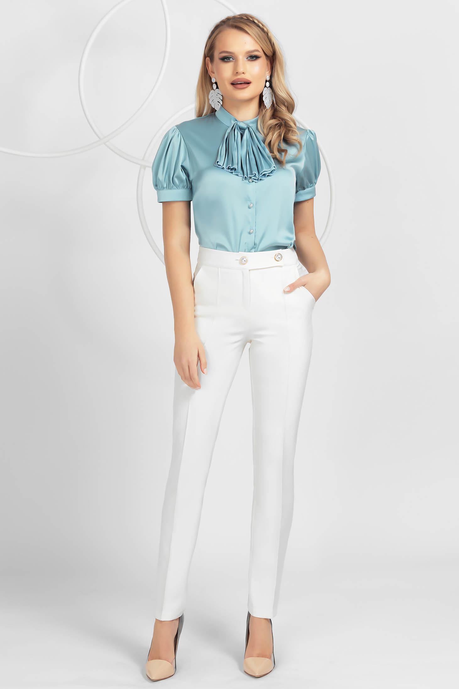 Ivory trousers conical medium waist slightly elastic fabric