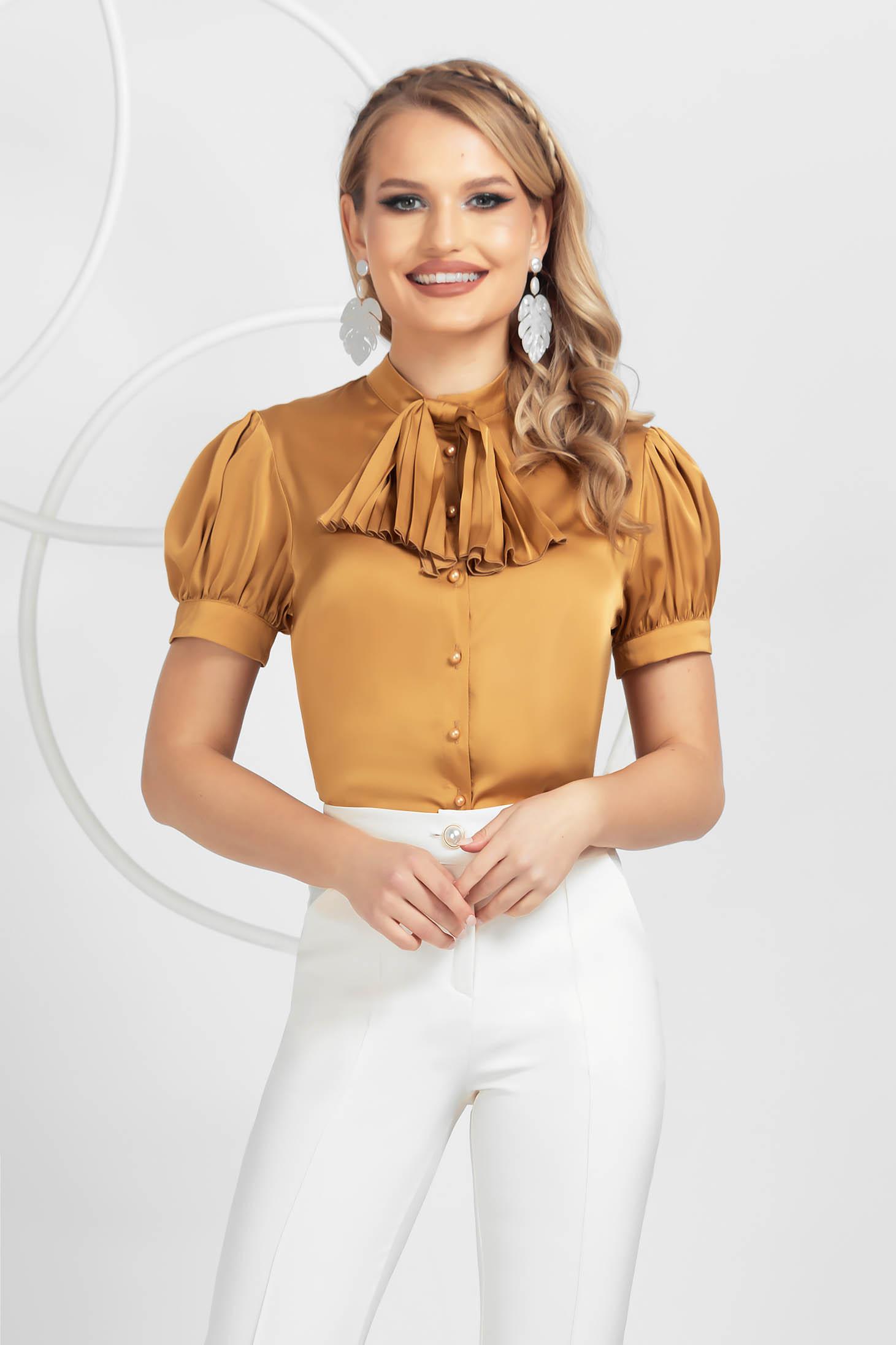 Mustard women`s blouse elegant loose fit from satin