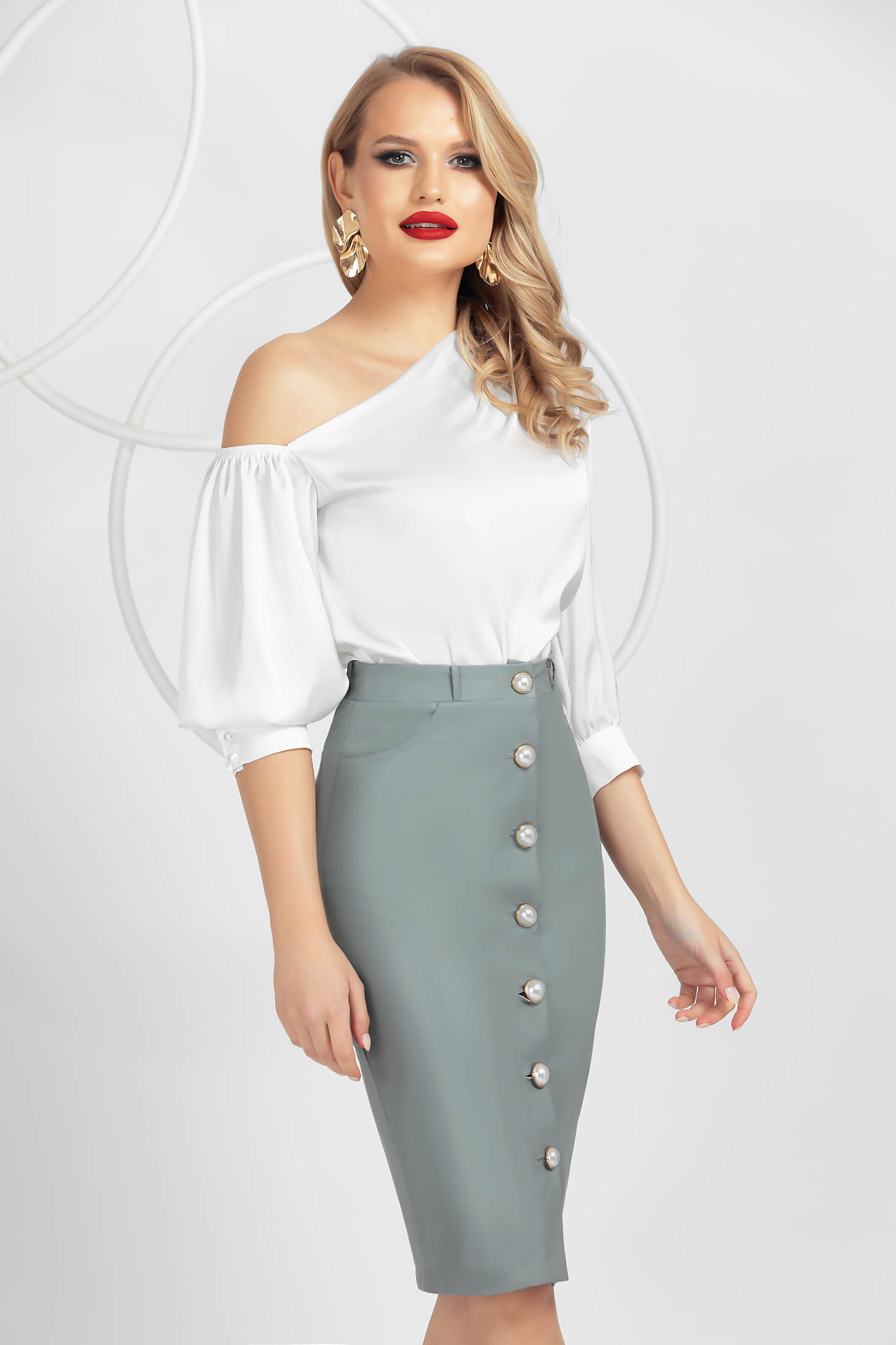 Grey skirt midi pencil office with button accessories from ecological leather