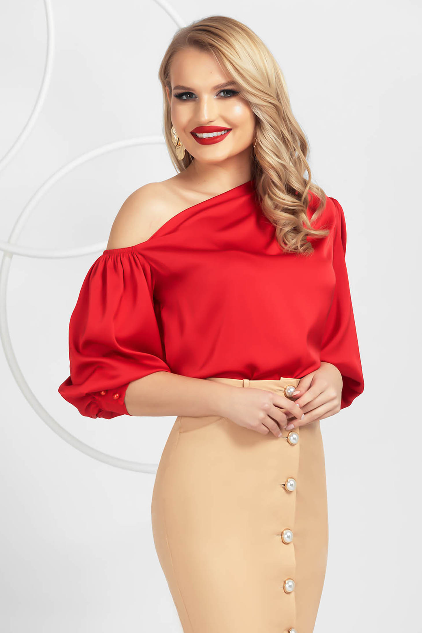 Red women`s blouse elegant one shoulder from satin with puffed sleeves