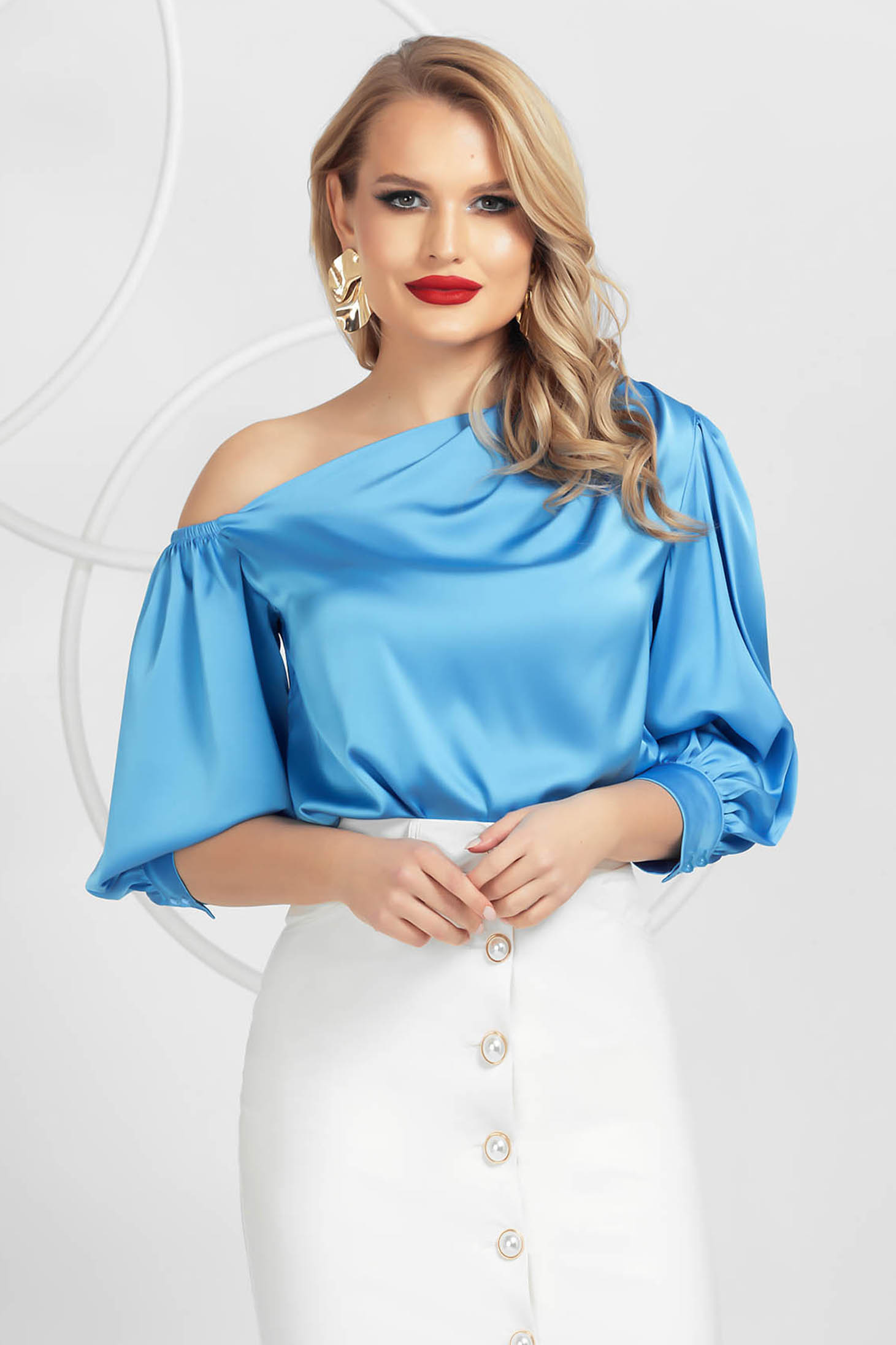 Blue women`s blouse elegant one shoulder from satin with puffed sleeves