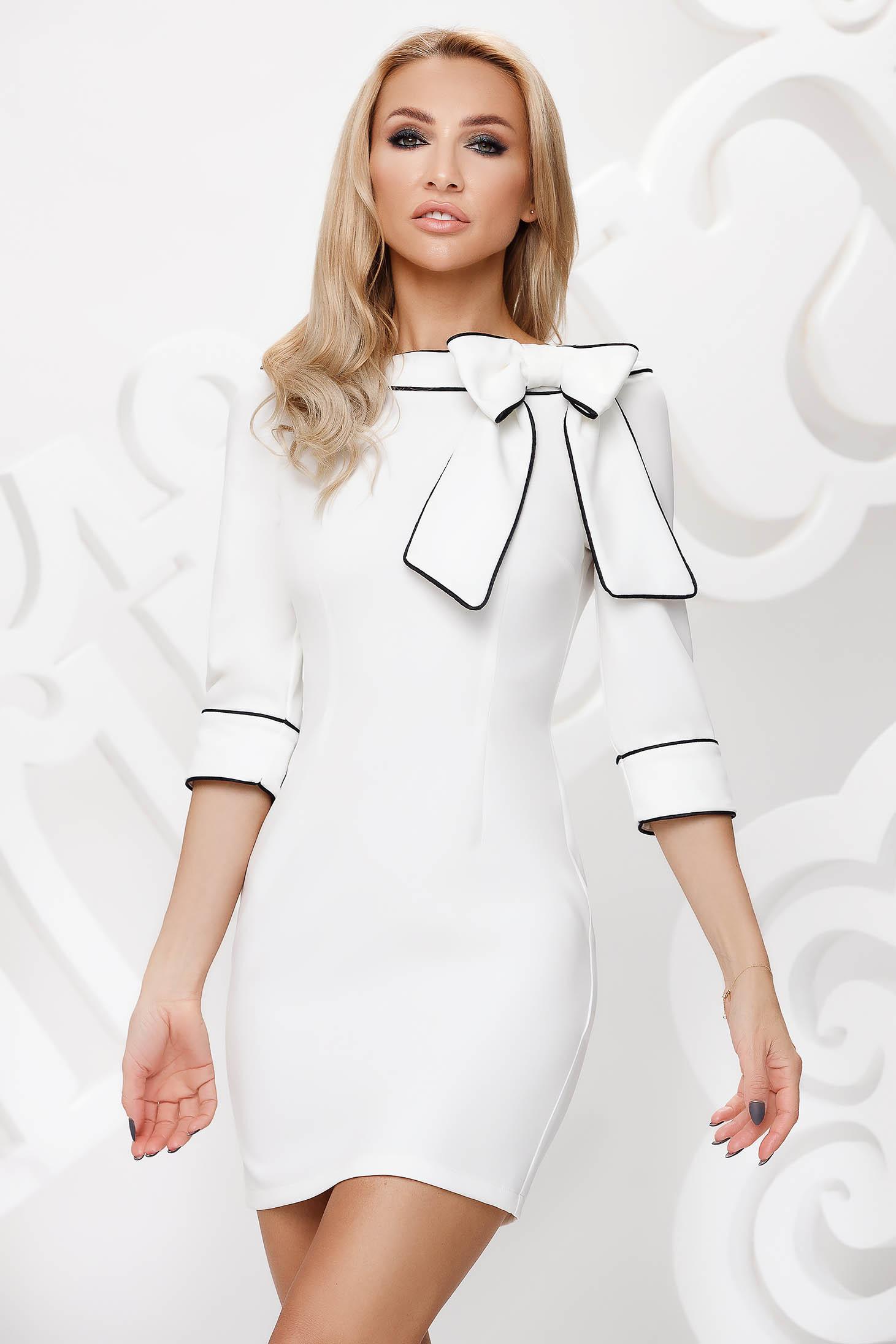 White dress pencil bow accessory double collar