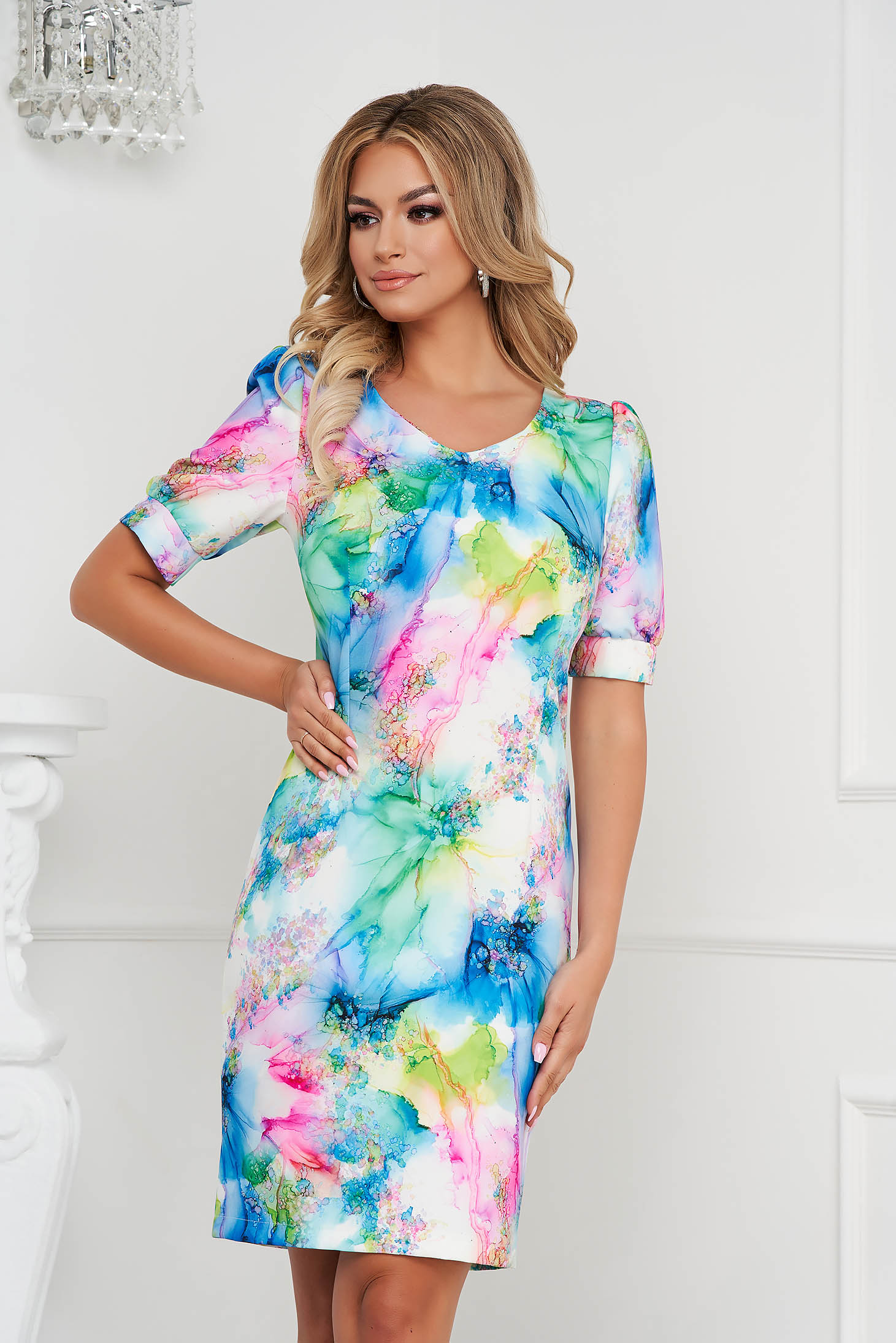 StarShinerS dress with floral print straight office short cut non-flexible thin fabric