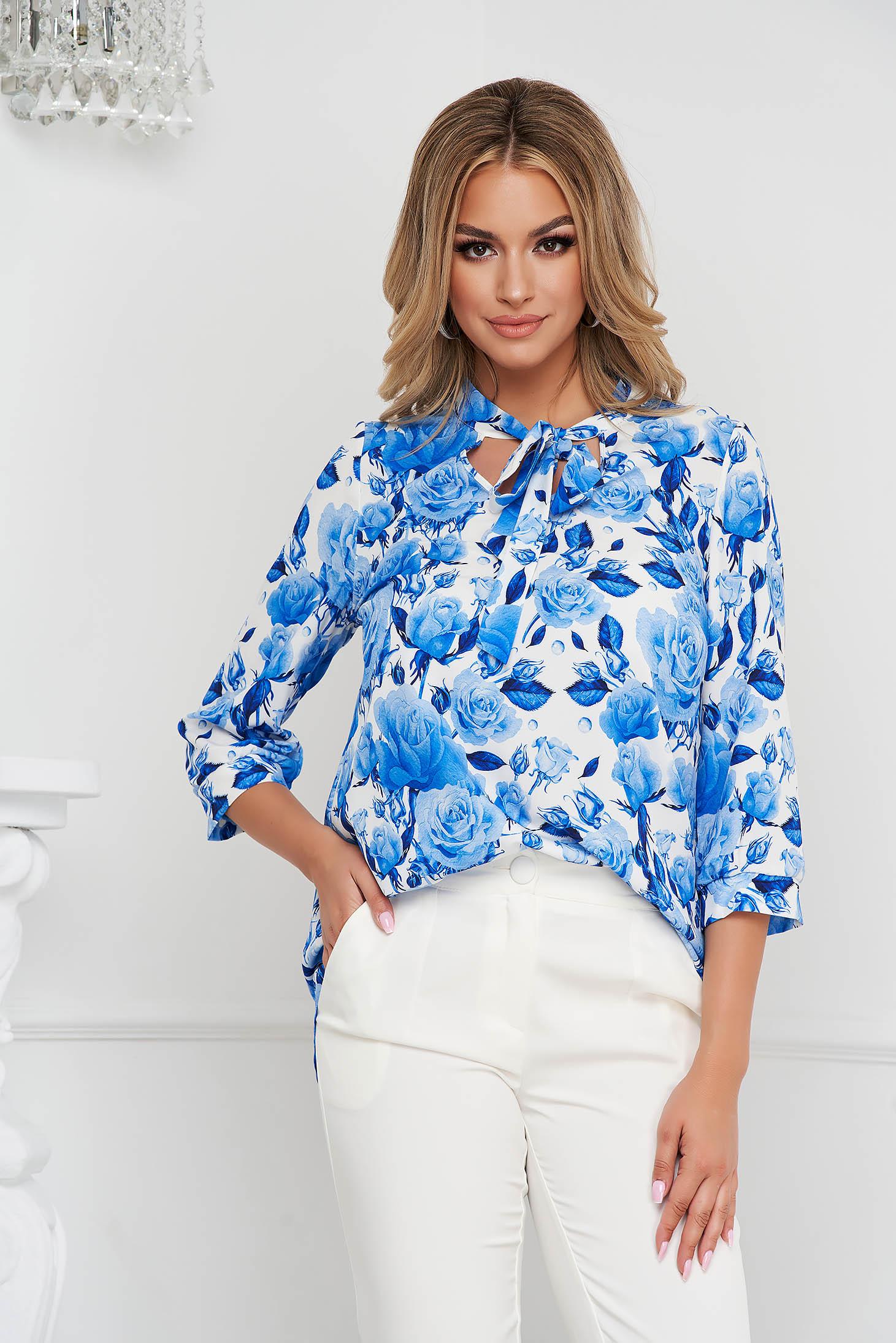 Bluza dama StarShinerS office cu croi larg din material fin la atingere cu guler tip esarfa