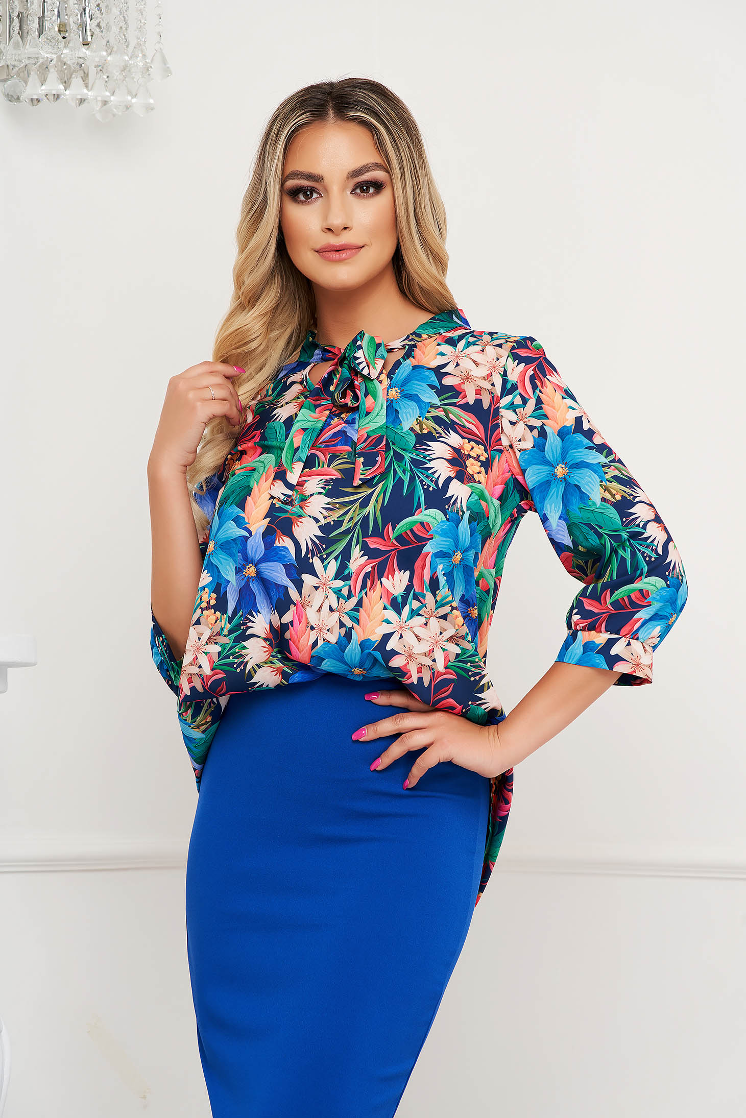 StarShinerS women`s blouse with floral print thin fabric
