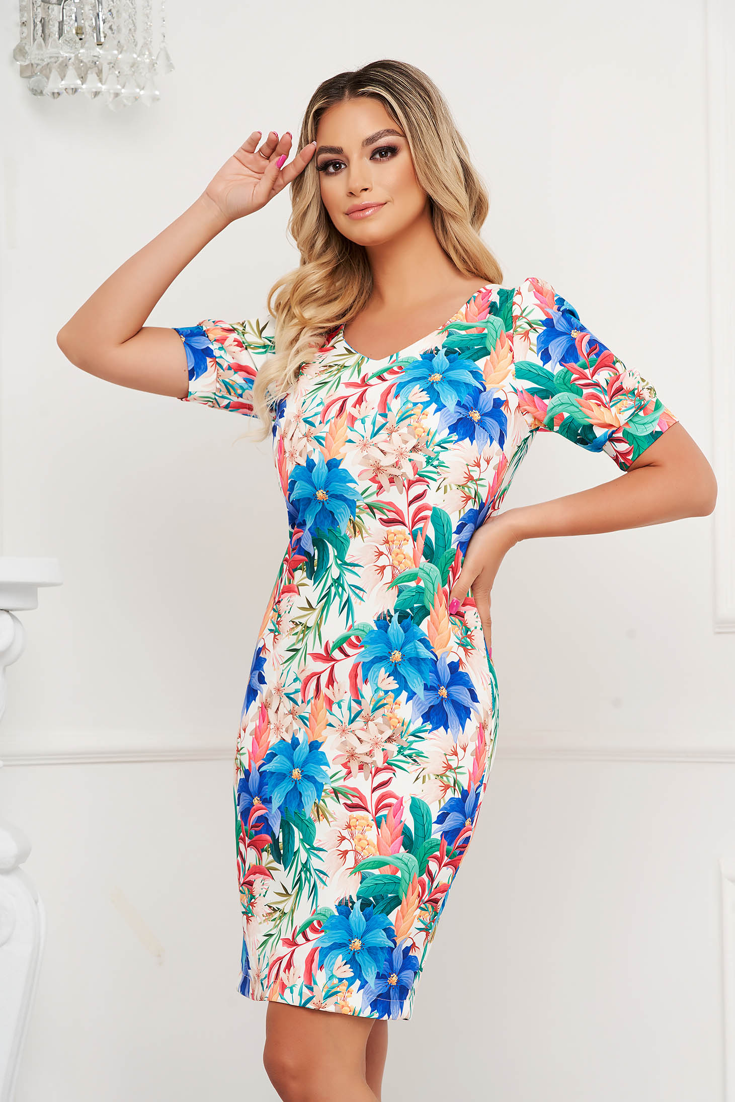StarShinerS dress with floral print straight midi high shoulders