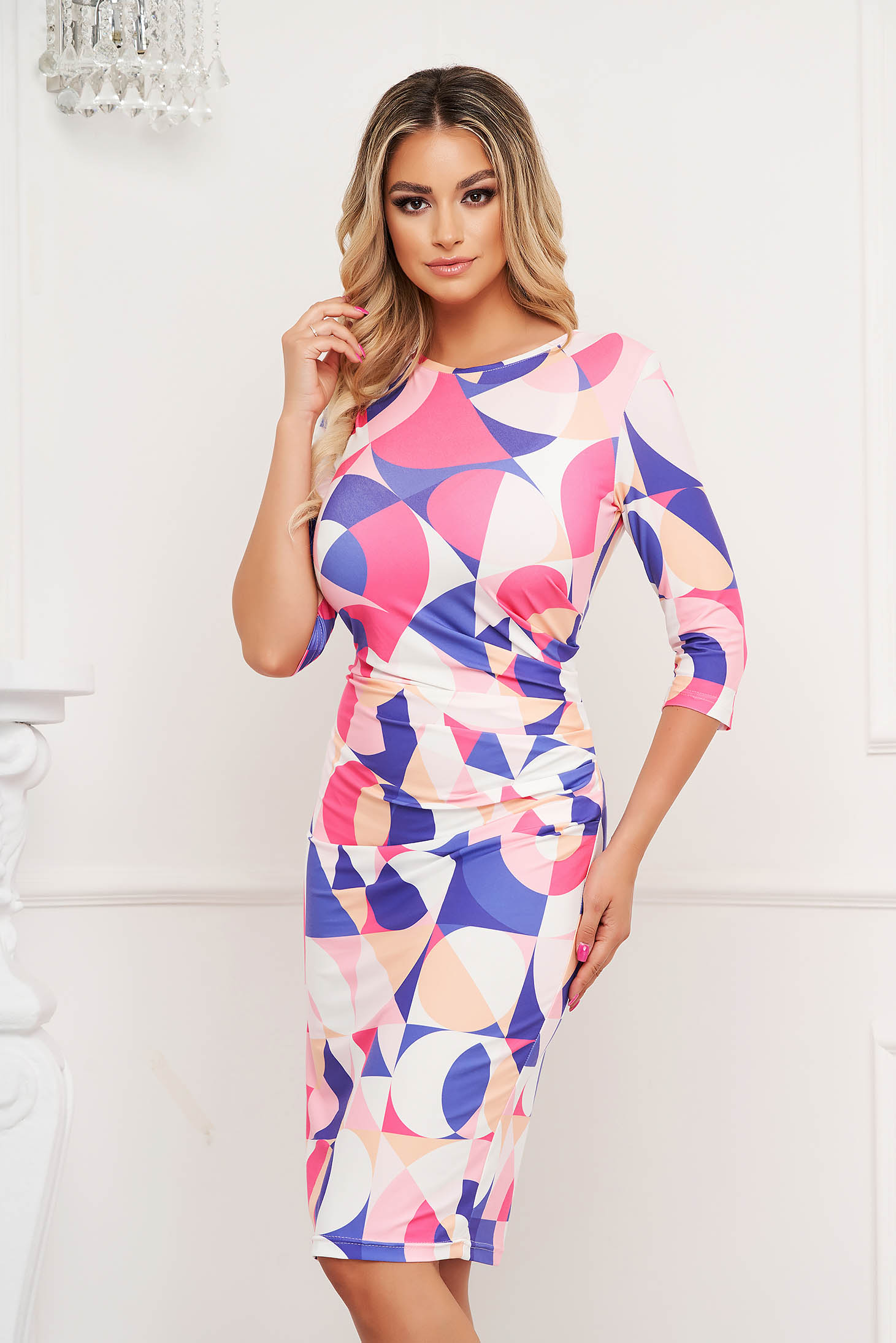 StarShinerS dress midi pencil with graphic details from elastic and fine fabric office wrinkled material on both sides