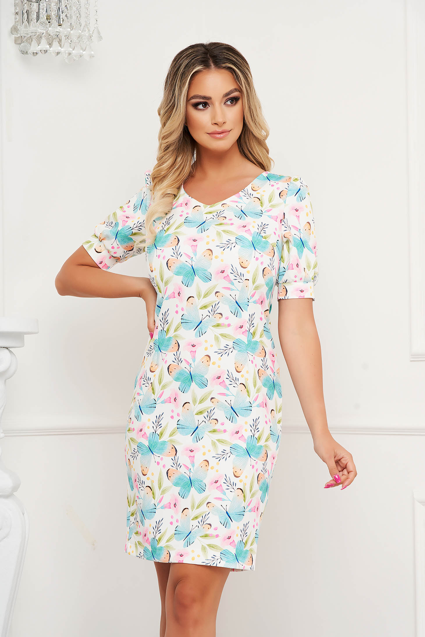 StarShinerS dress with floral print straight short cut office non-flexible thin fabric