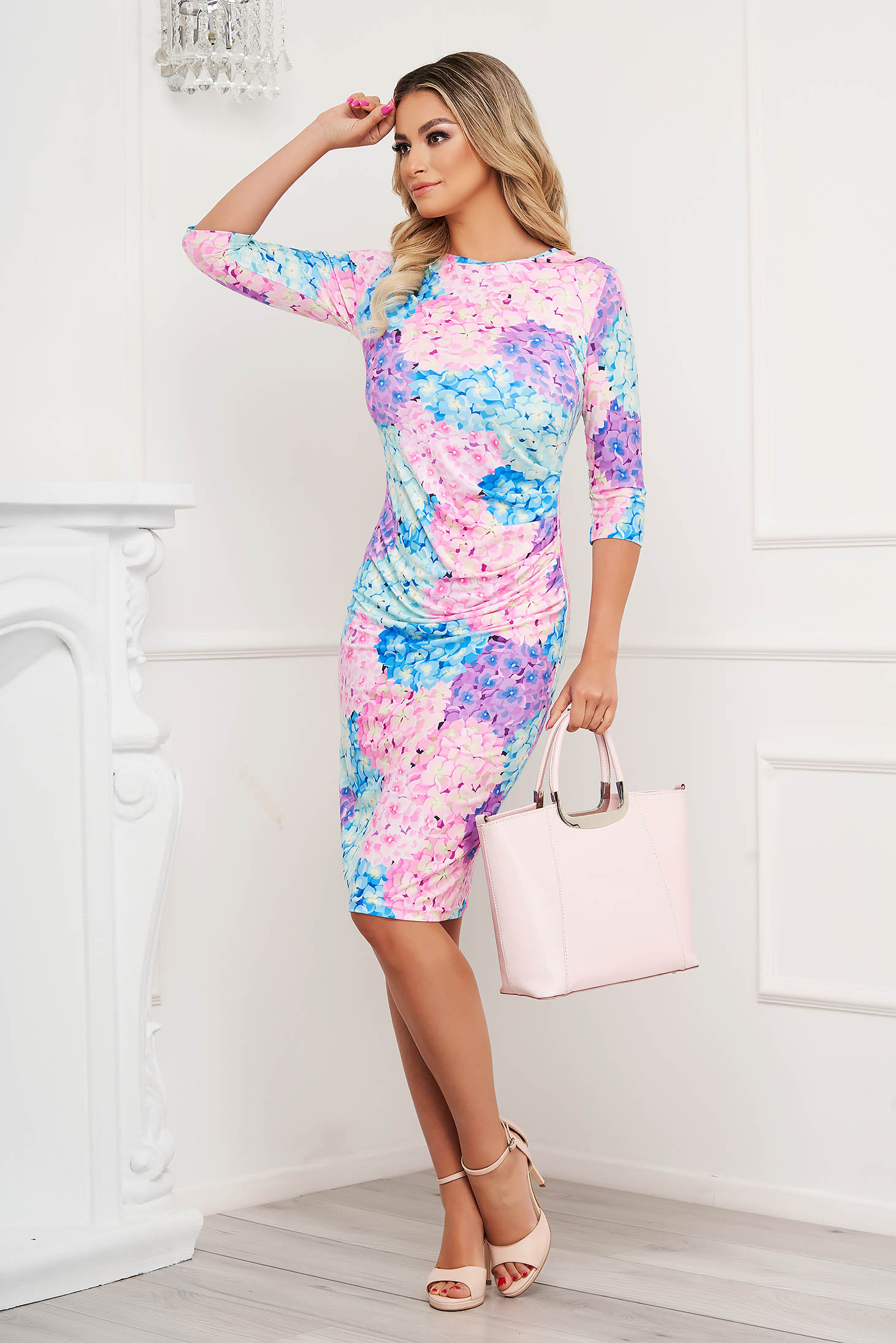 StarShinerS dress midi pencil with graphic details from elastic and fine fabric