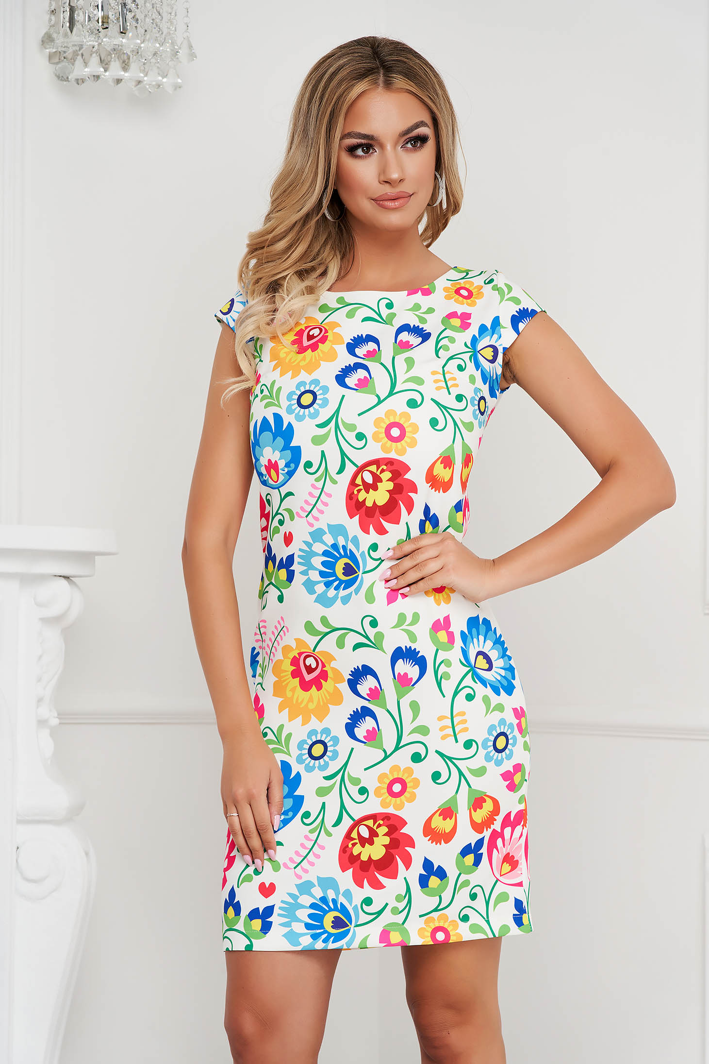StarShinerS dress short cut straight with floral print office non-flexible thin fabric