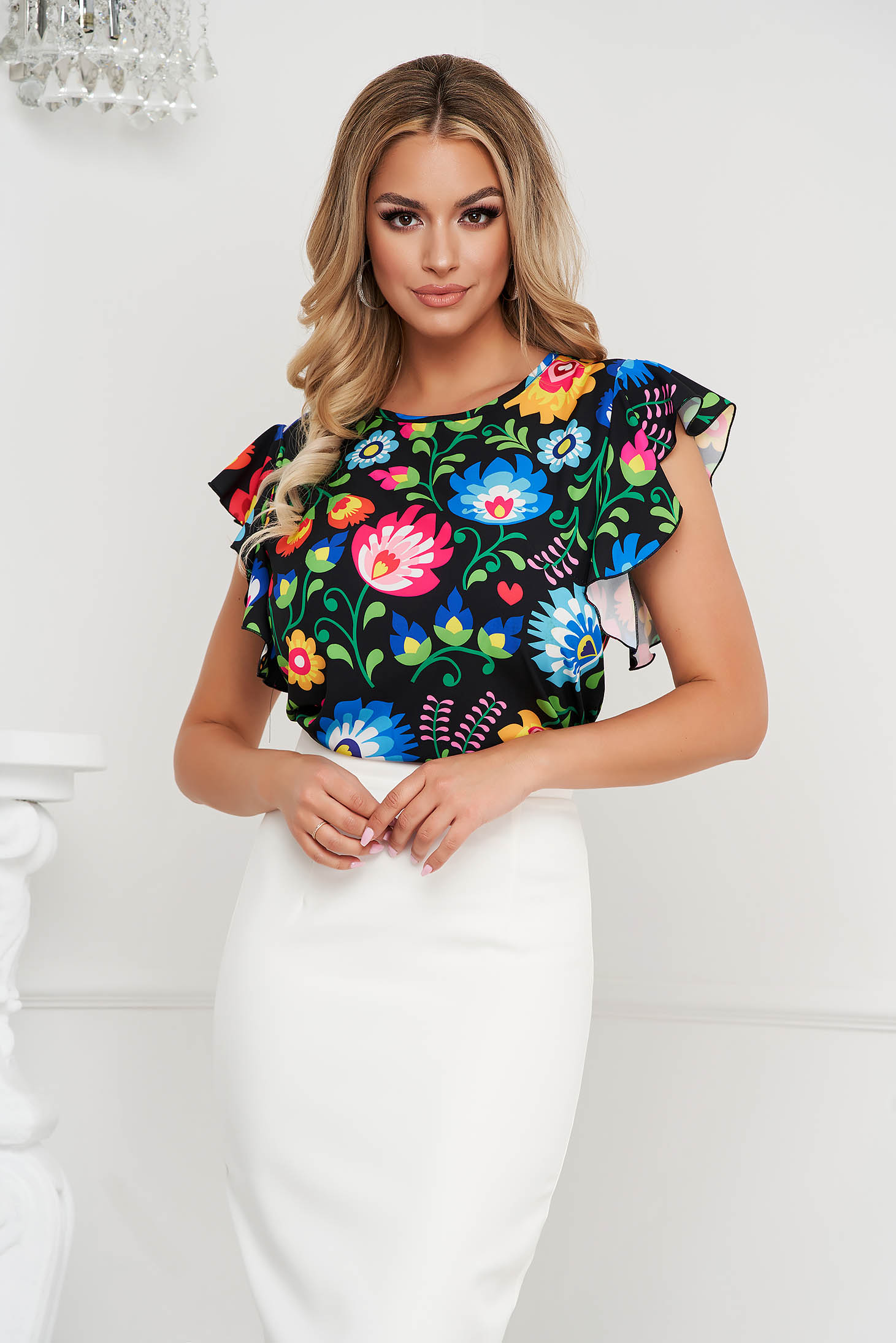 Women`s blouse StarShinerS from elastic and fine fabric midi pencil with graphic details