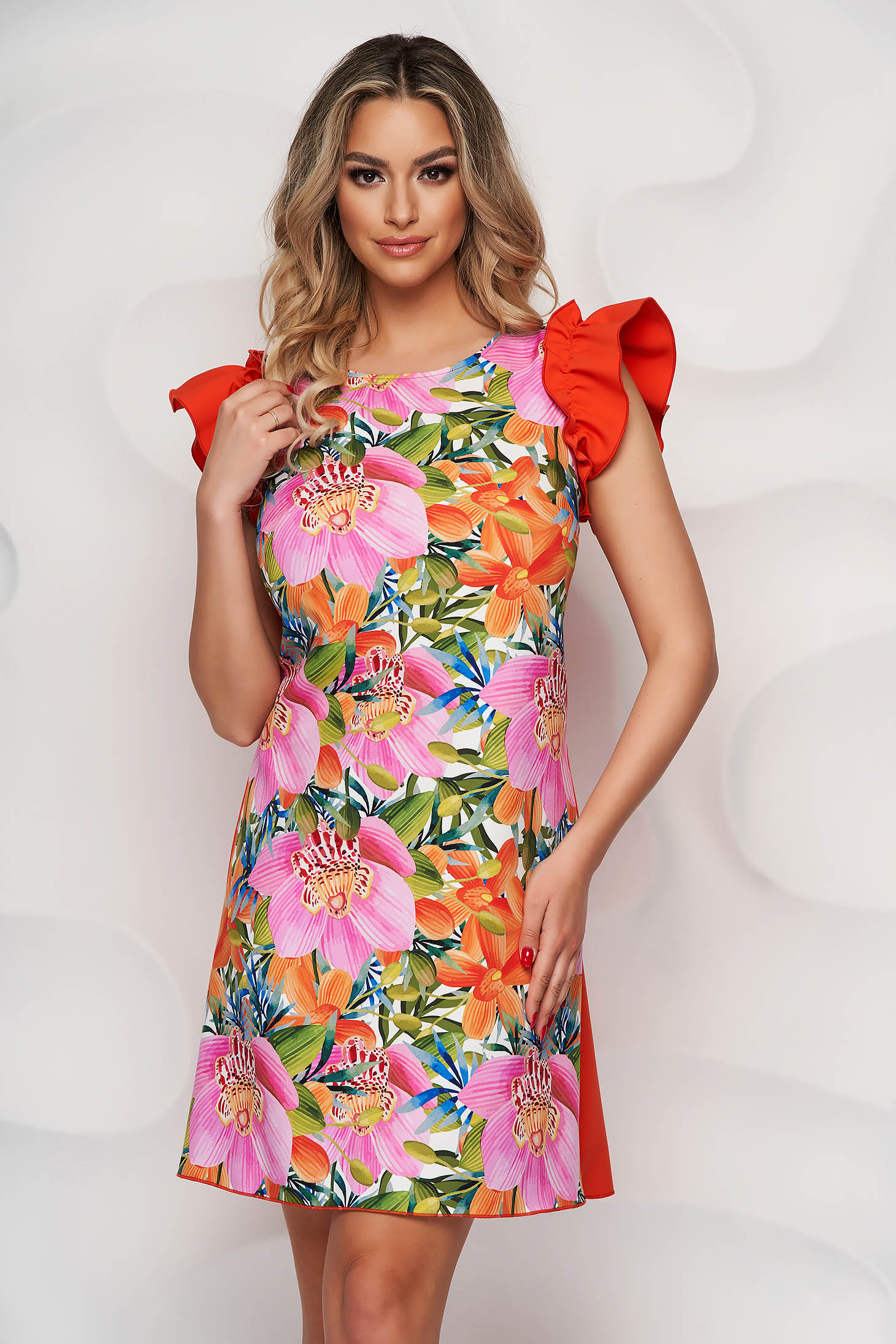 StarShinerS dress slightly elastic fabric elegant short cut loose fit