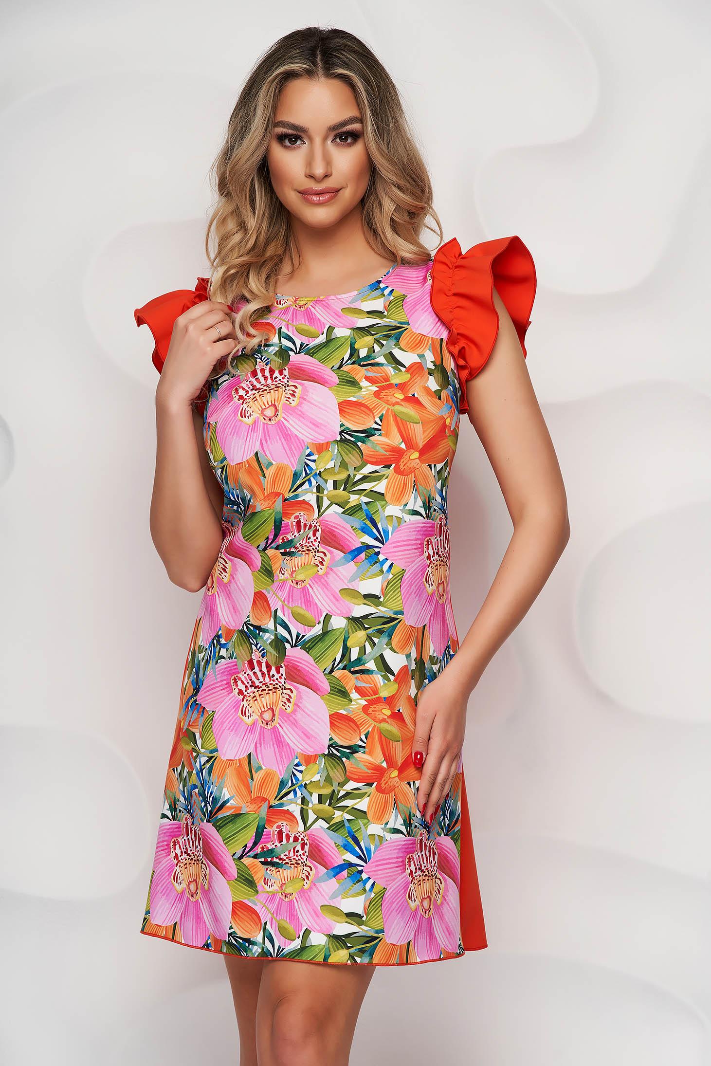 StarShinerS elegáns virágmintás A-vonalú ruha enyhén rugalmas anyagból