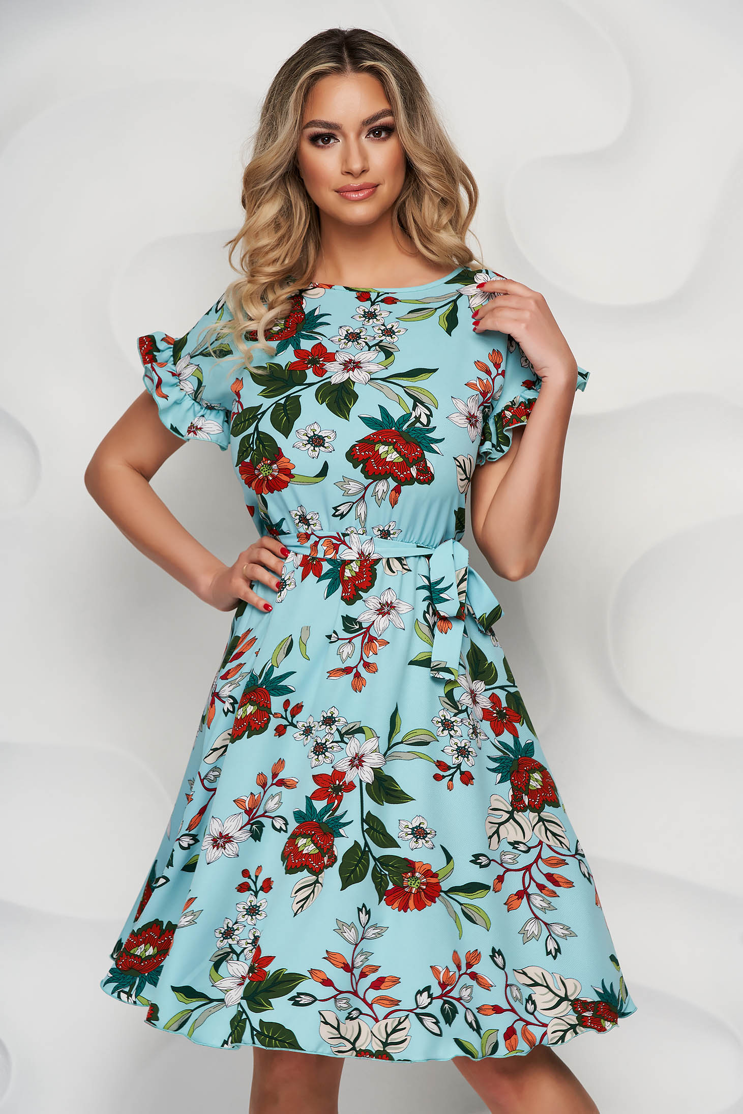 Rochie StarShinerS eleganta cu imprimeu floral midi in clos cu elastic in talie din material vaporos