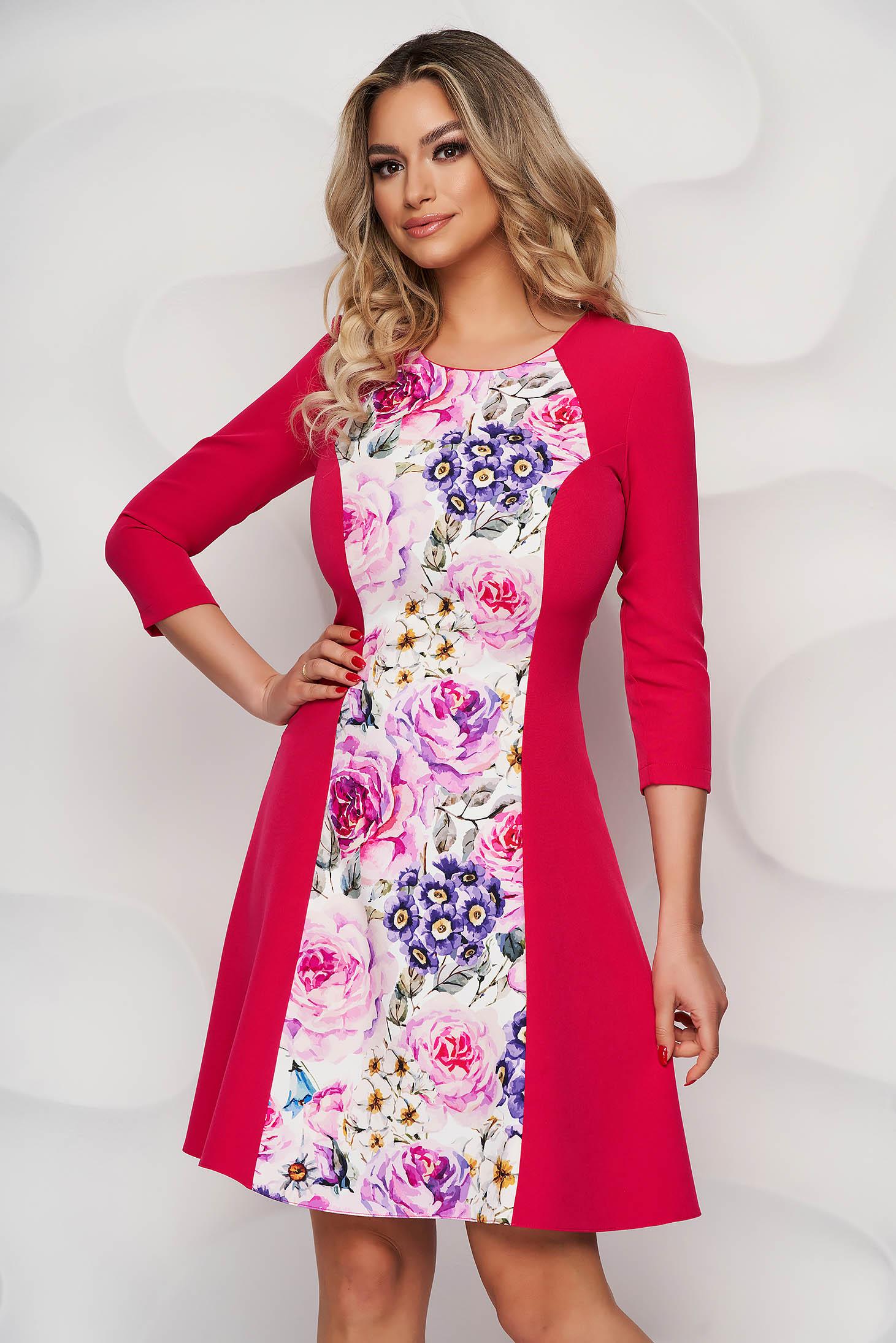 StarShinerS elegáns virágmintás harang ruha háromnegyedes ujjakkal vékony anyagból