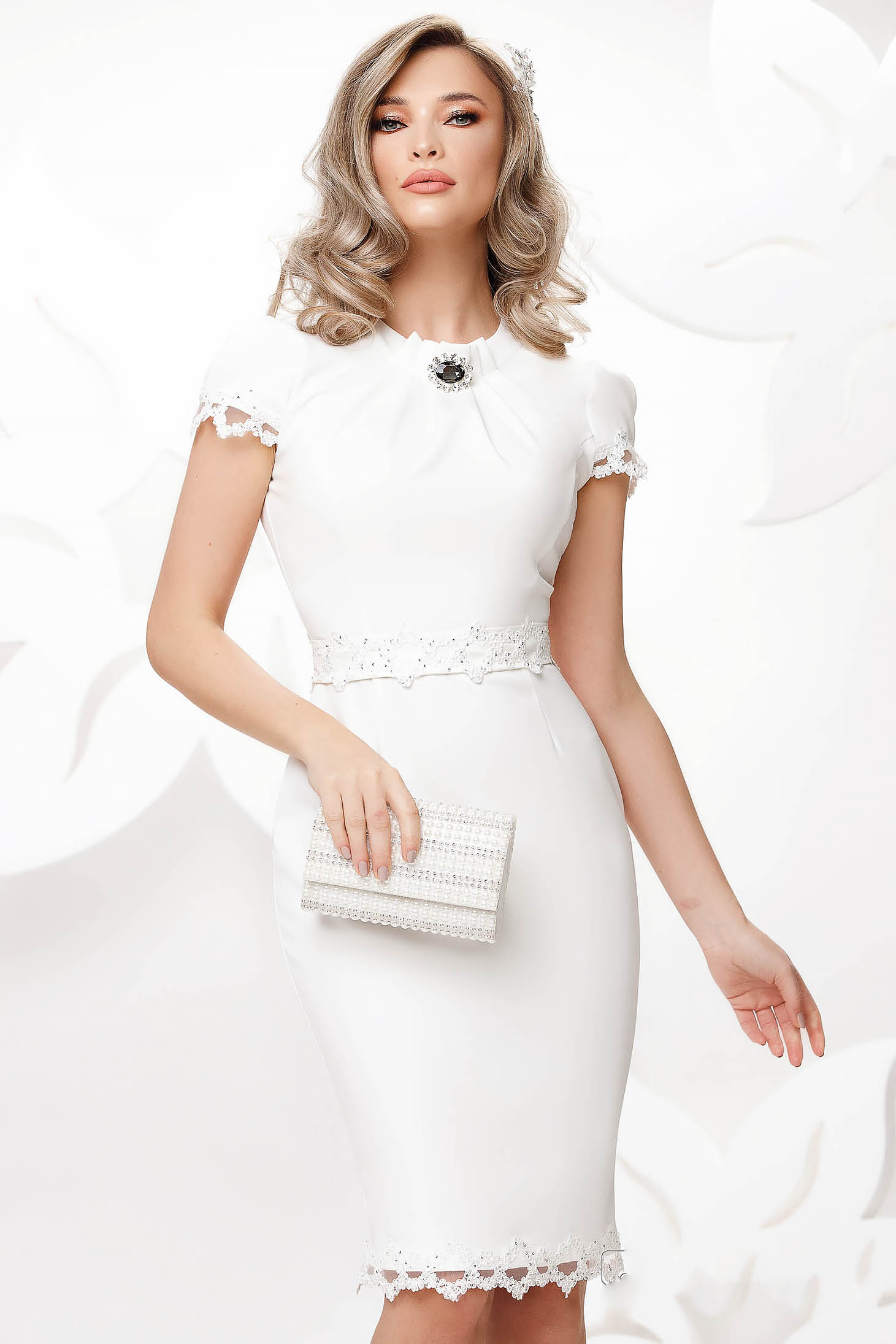 White dress occasional pencil with embroidery details thin fabric