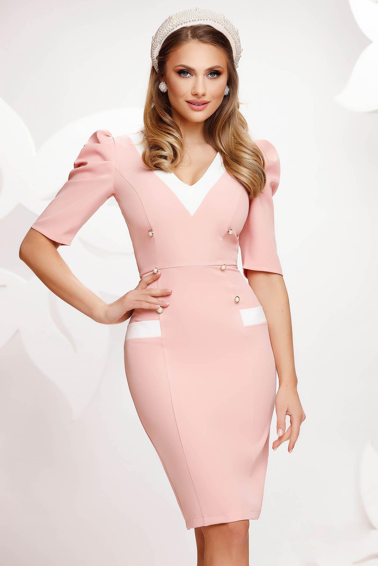 Pink dress office short cut pencil high shoulders