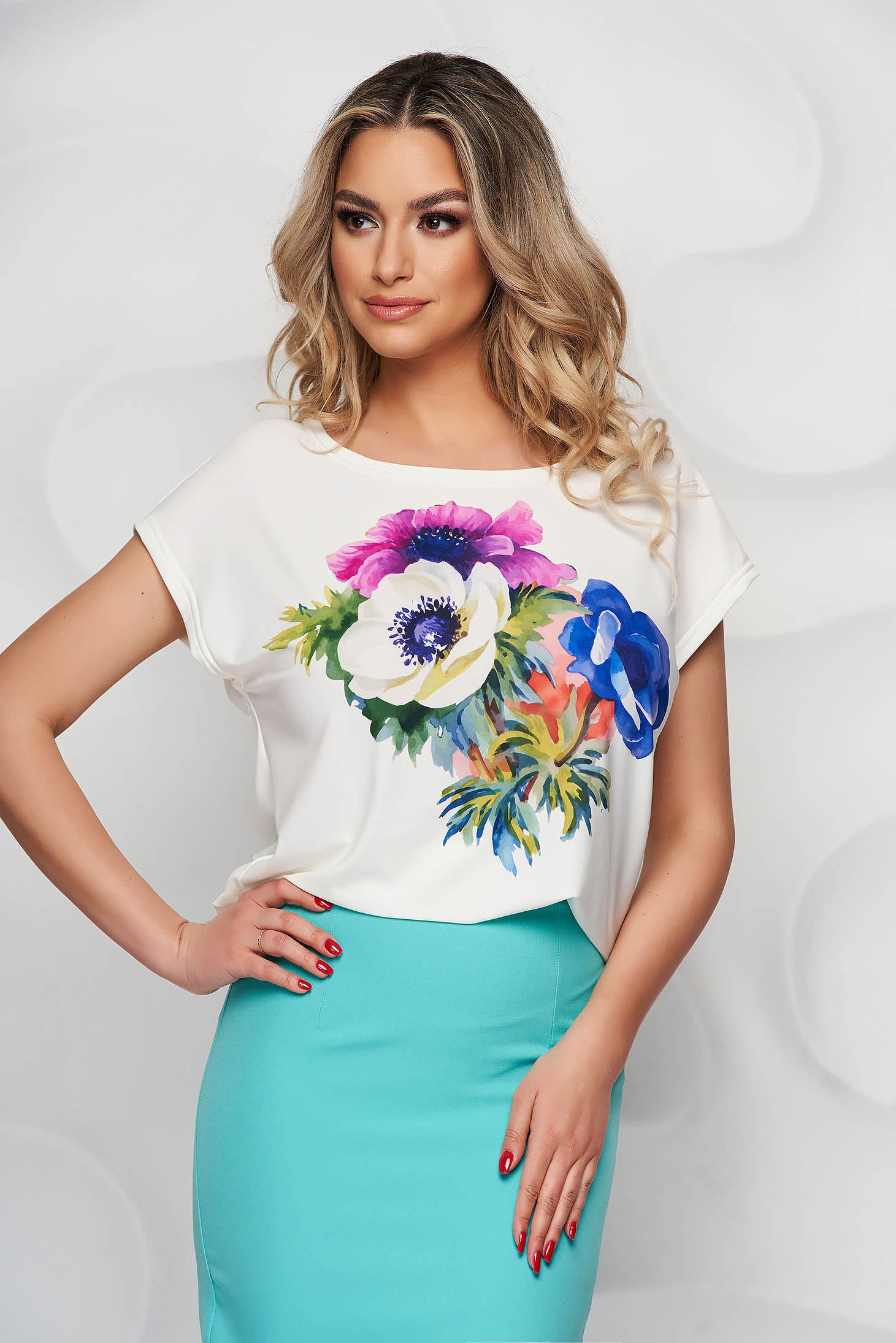 StarShinerS women`s blouse with floral print elegant thin fabric with rounded cleavage