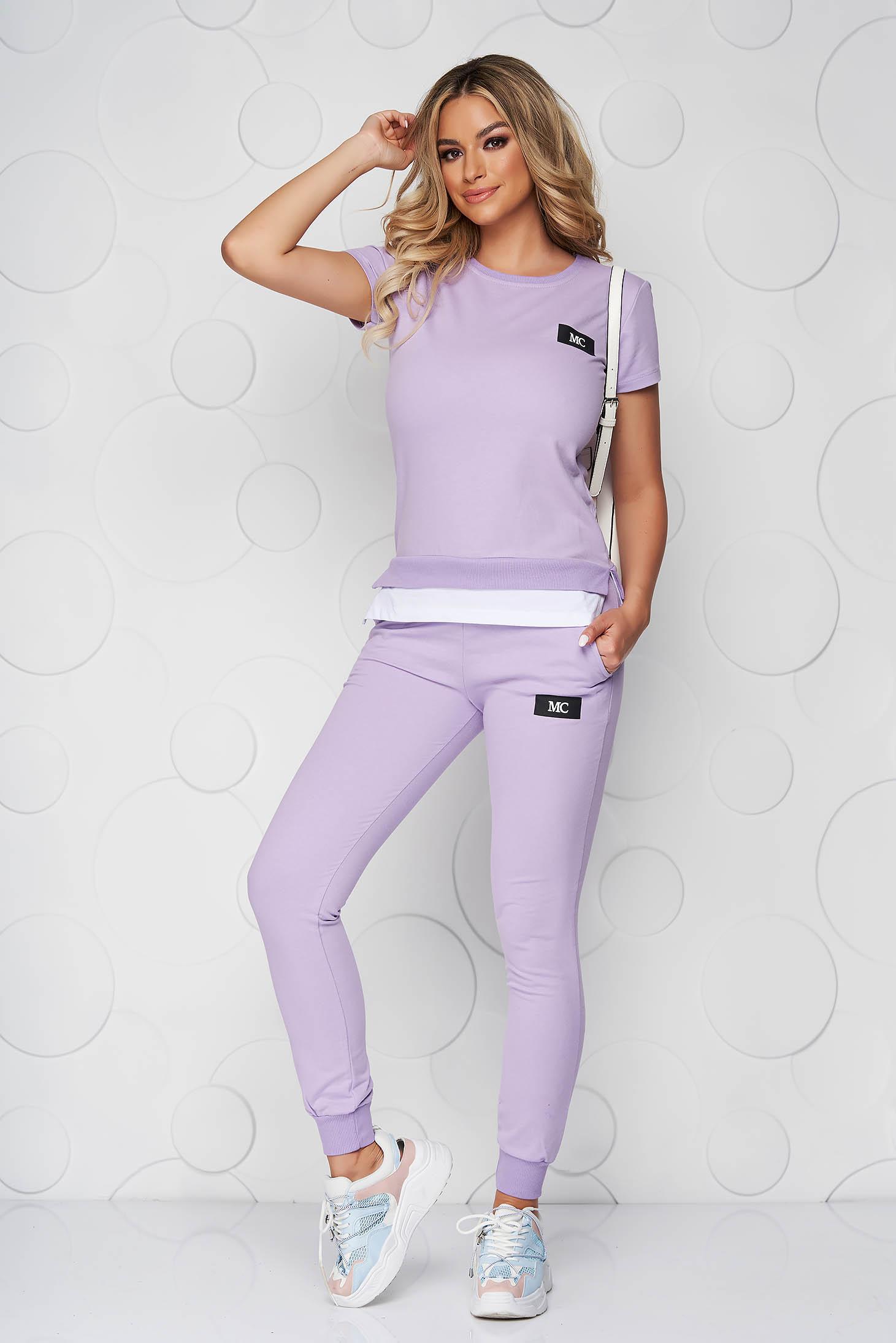 Lila casual kétrészes pamutból készült sportos szett nadrággal