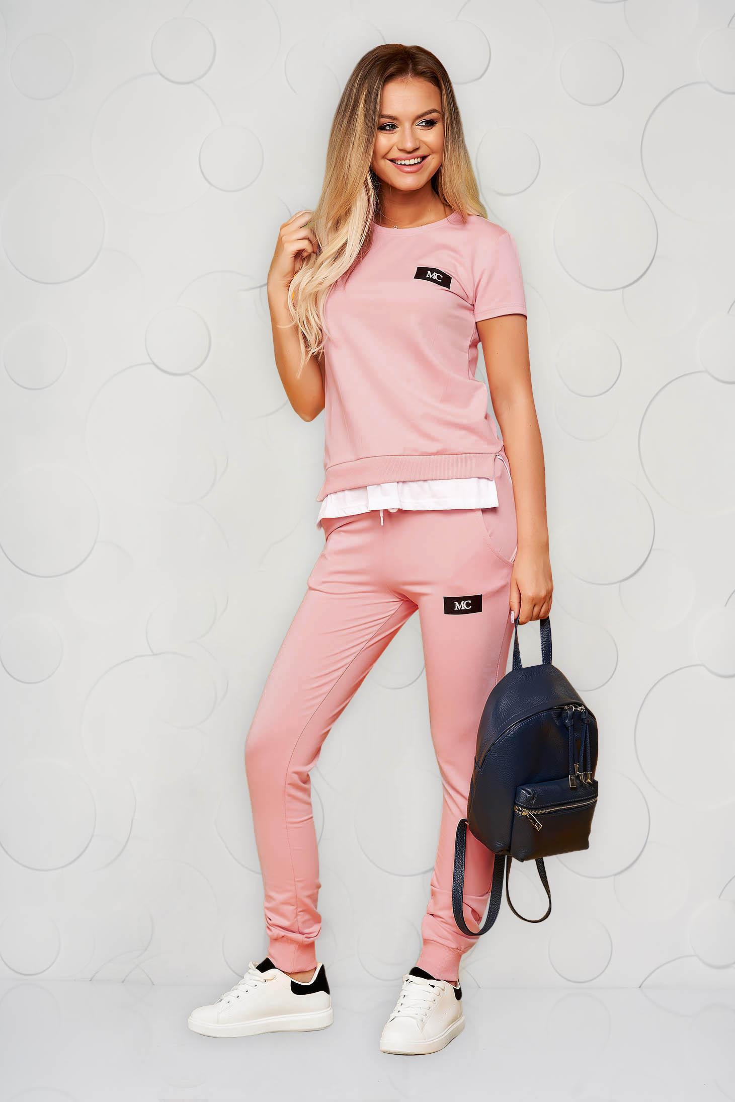 Trening SunShine roz prafuit casual din bumbac din doua piese cu pantalon