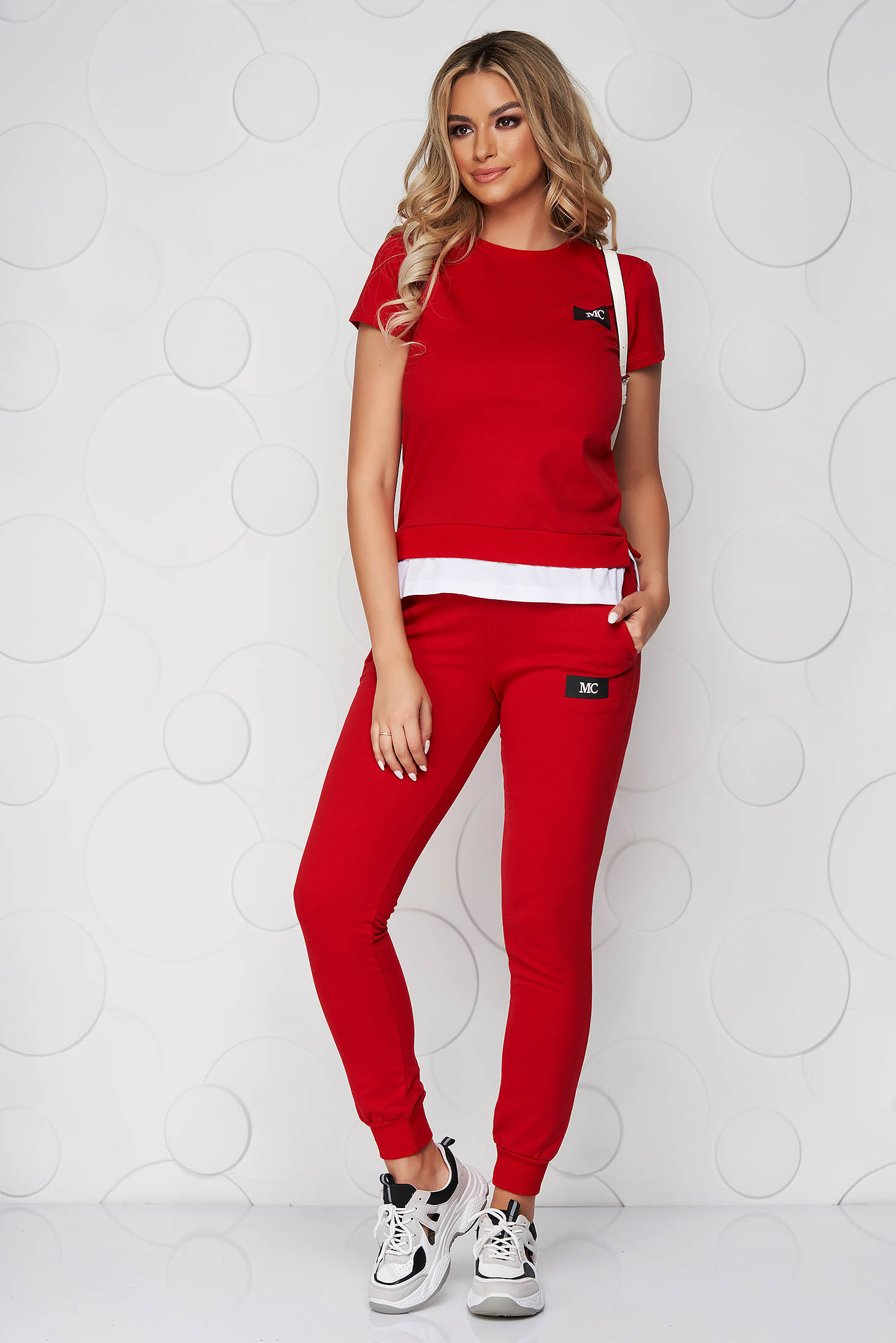 Red sport 2 pieces casual cotton from two pieces with trousers