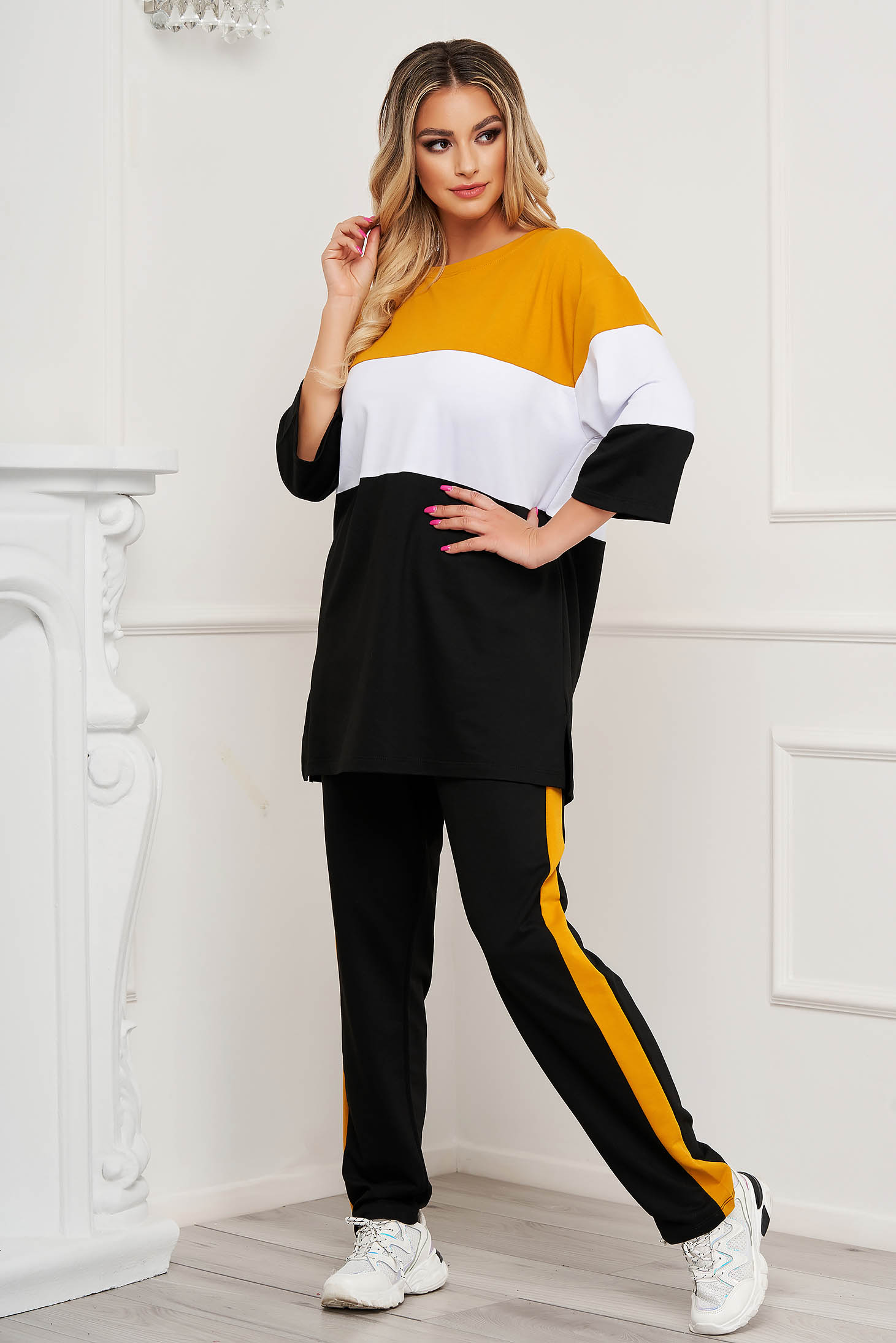 Mustard sport 2 pieces with stripes cotton loose fit