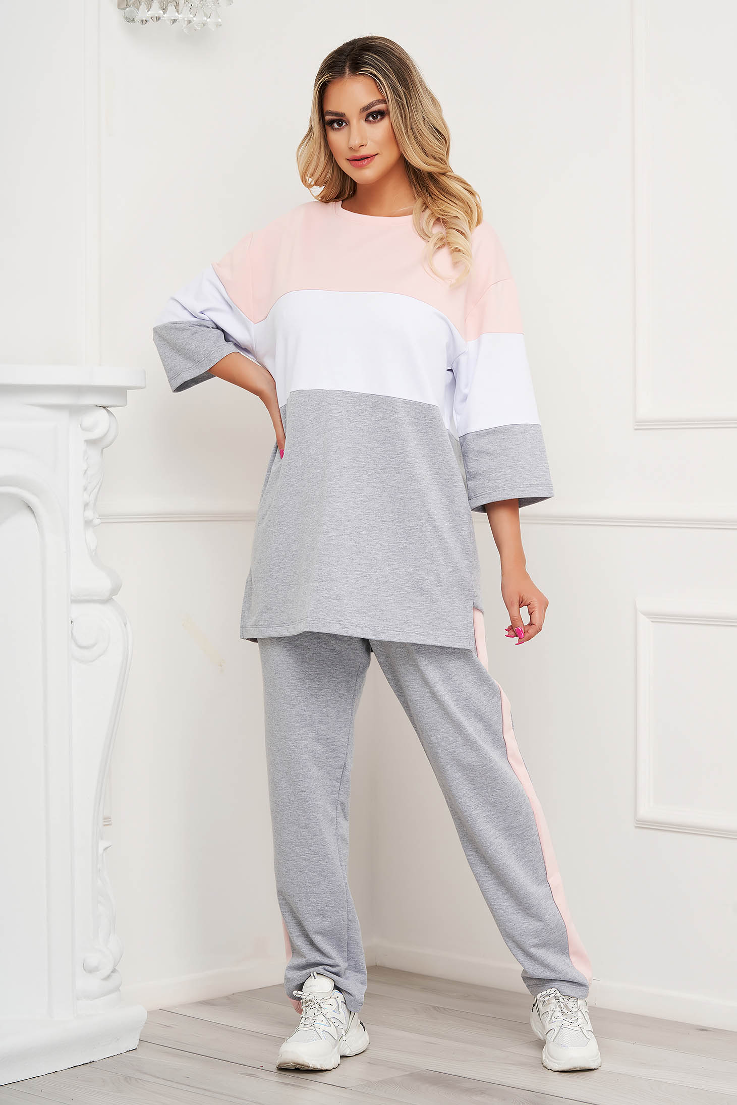 Lightpink sport 2 pieces with stripes cotton loose fit