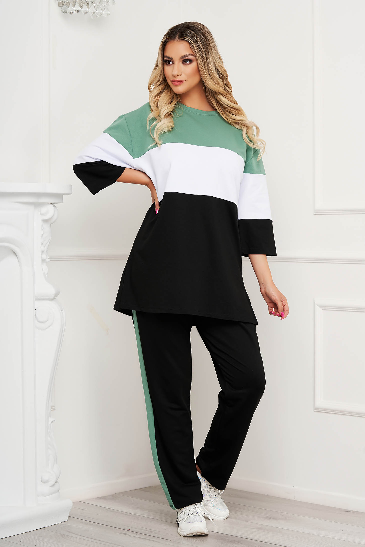 Green sport 2 pieces with stripes cotton loose fit