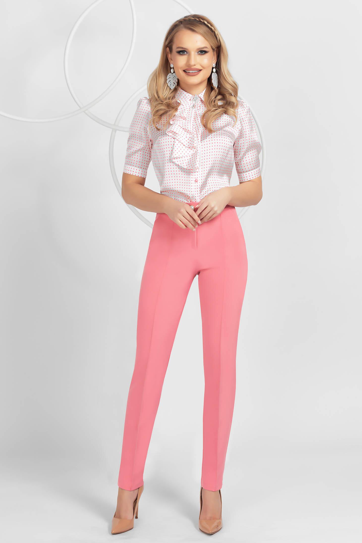 Pink trousers conical medium waist slightly elastic fabric
