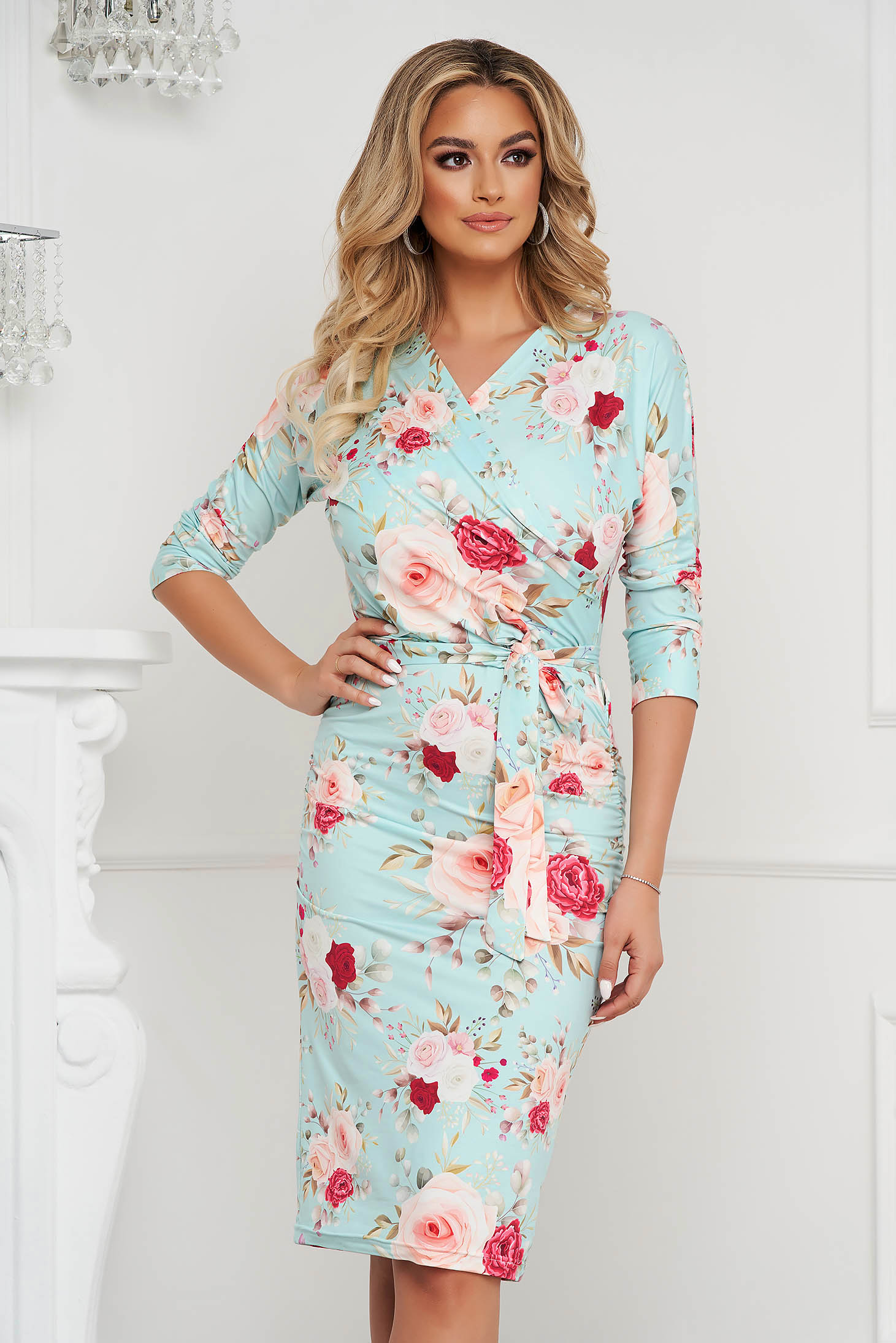 StarShinerS dress office midi pencil from elastic fabric wrap over front with floral print