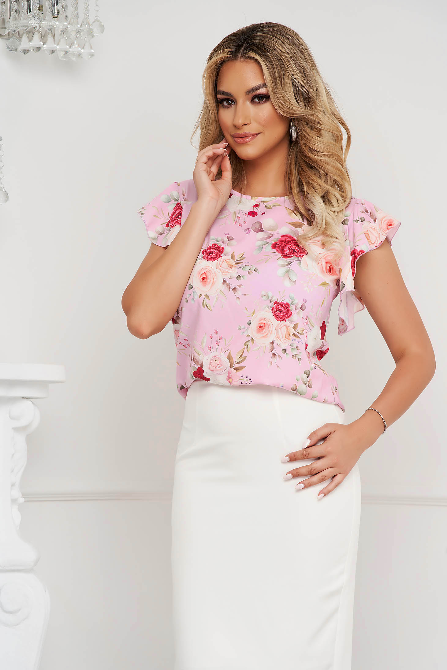 StarShinerS women`s blouse office with ruffle details soft fabric loose fit