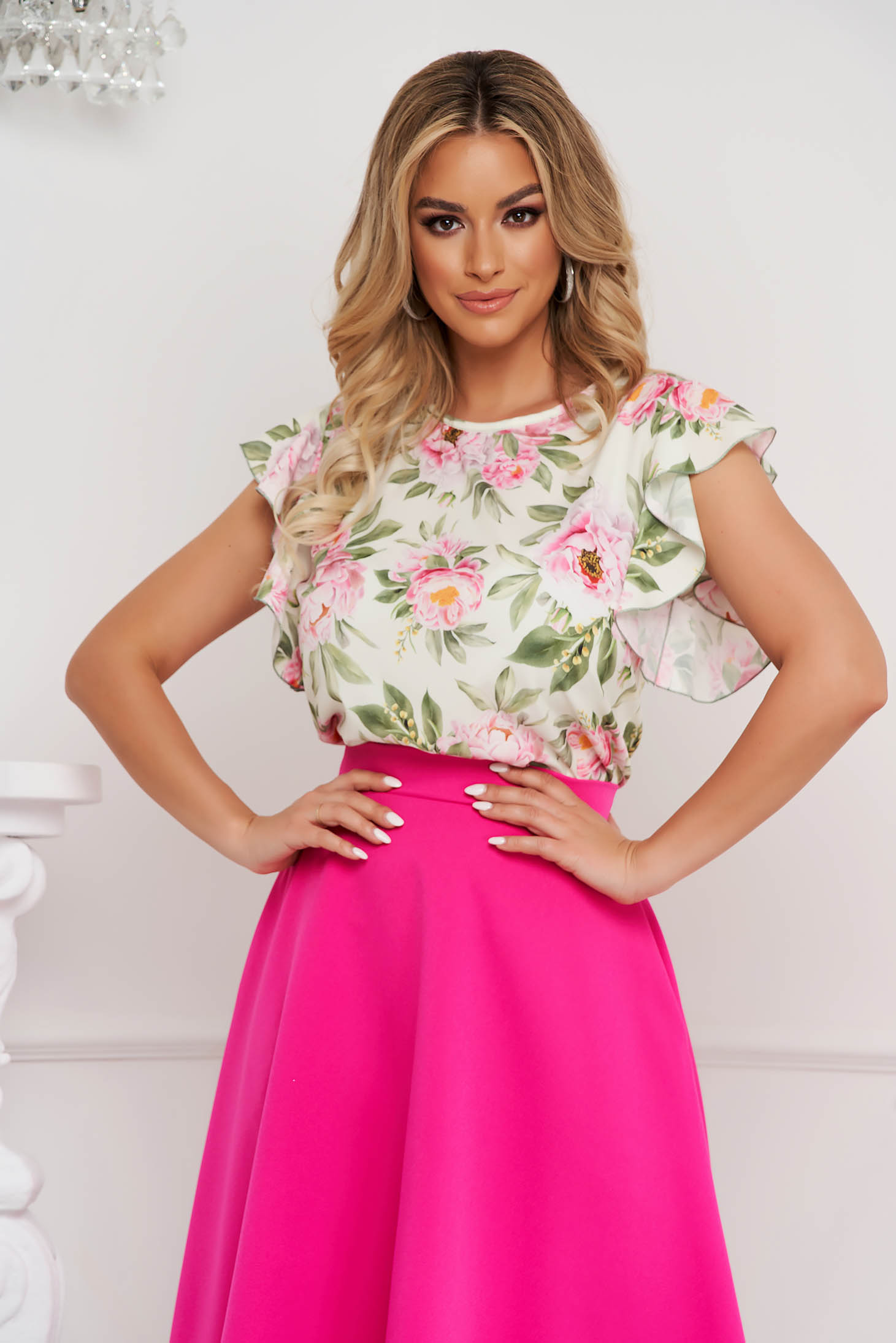 StarShinerS women`s blouse office with ruffle details soft fabric loose fit with floral print