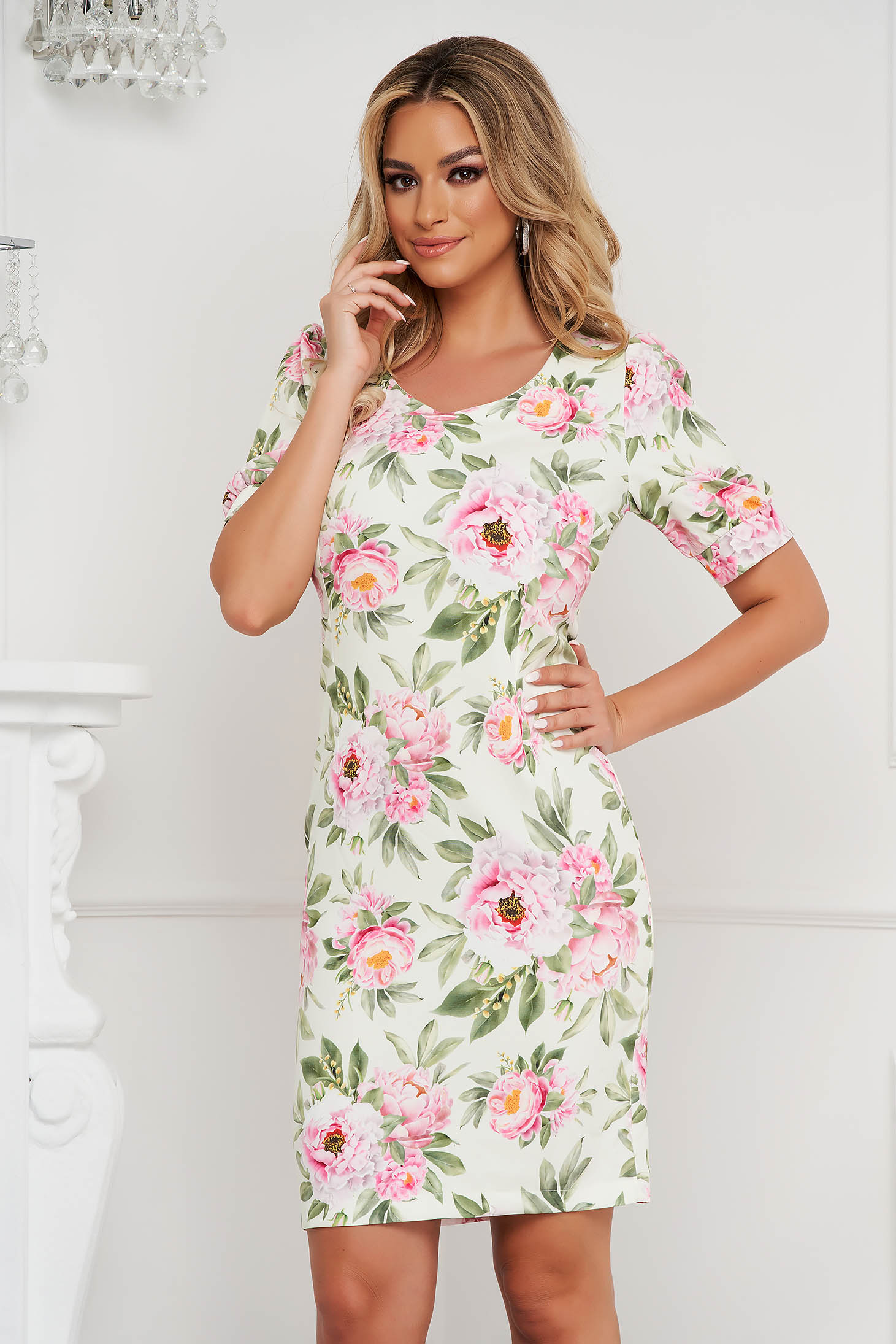 StarShinerS dress short cut office straight with floral print non-flexible thin fabric