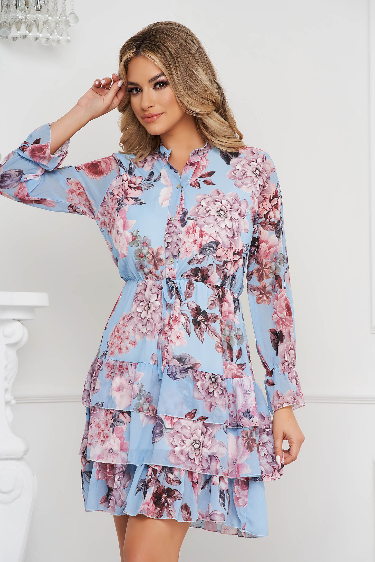 Dress with floral print cloche with elastic waist