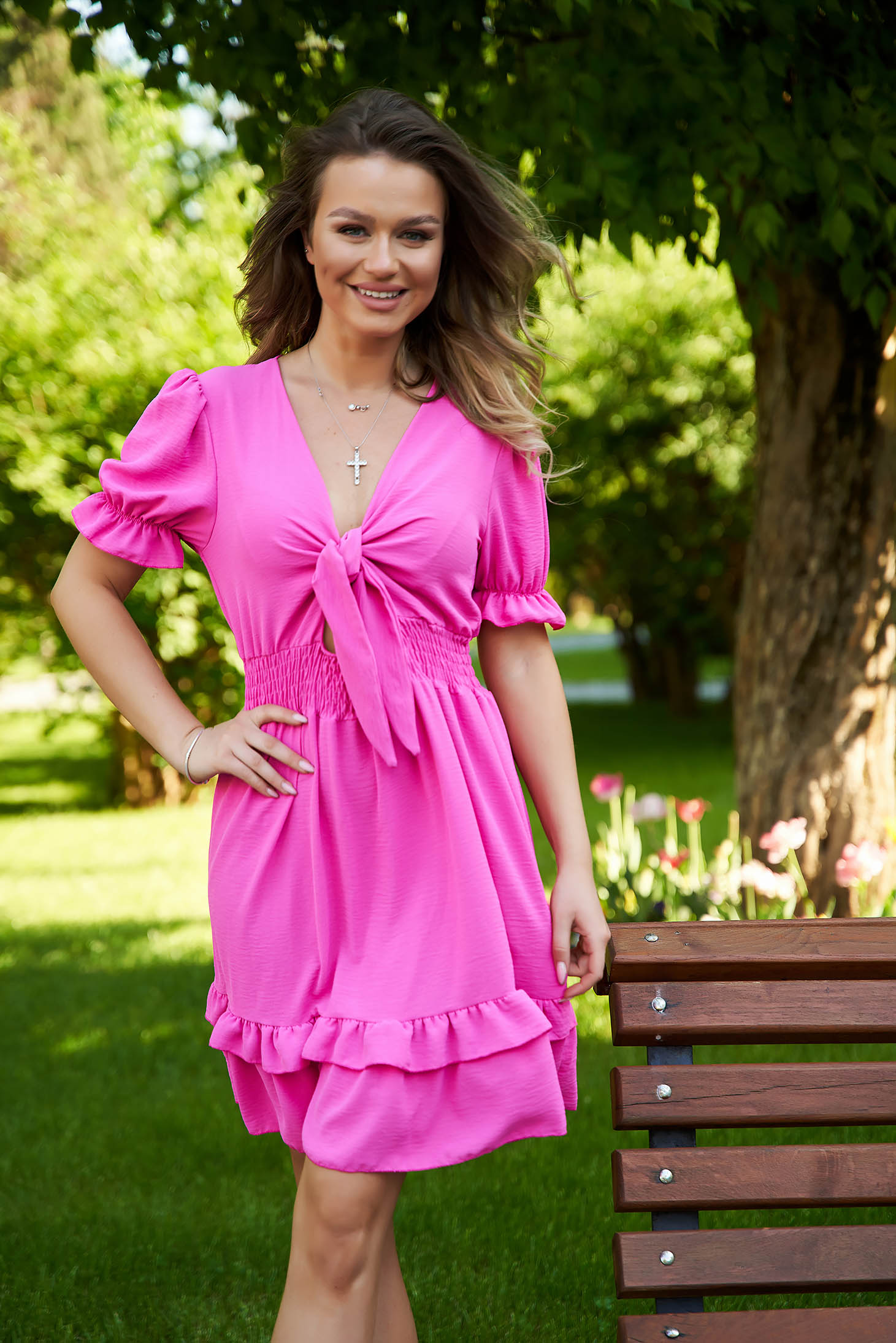 Fuchsia dress cloche with elastic waist short cut with ruffle details tied with bow