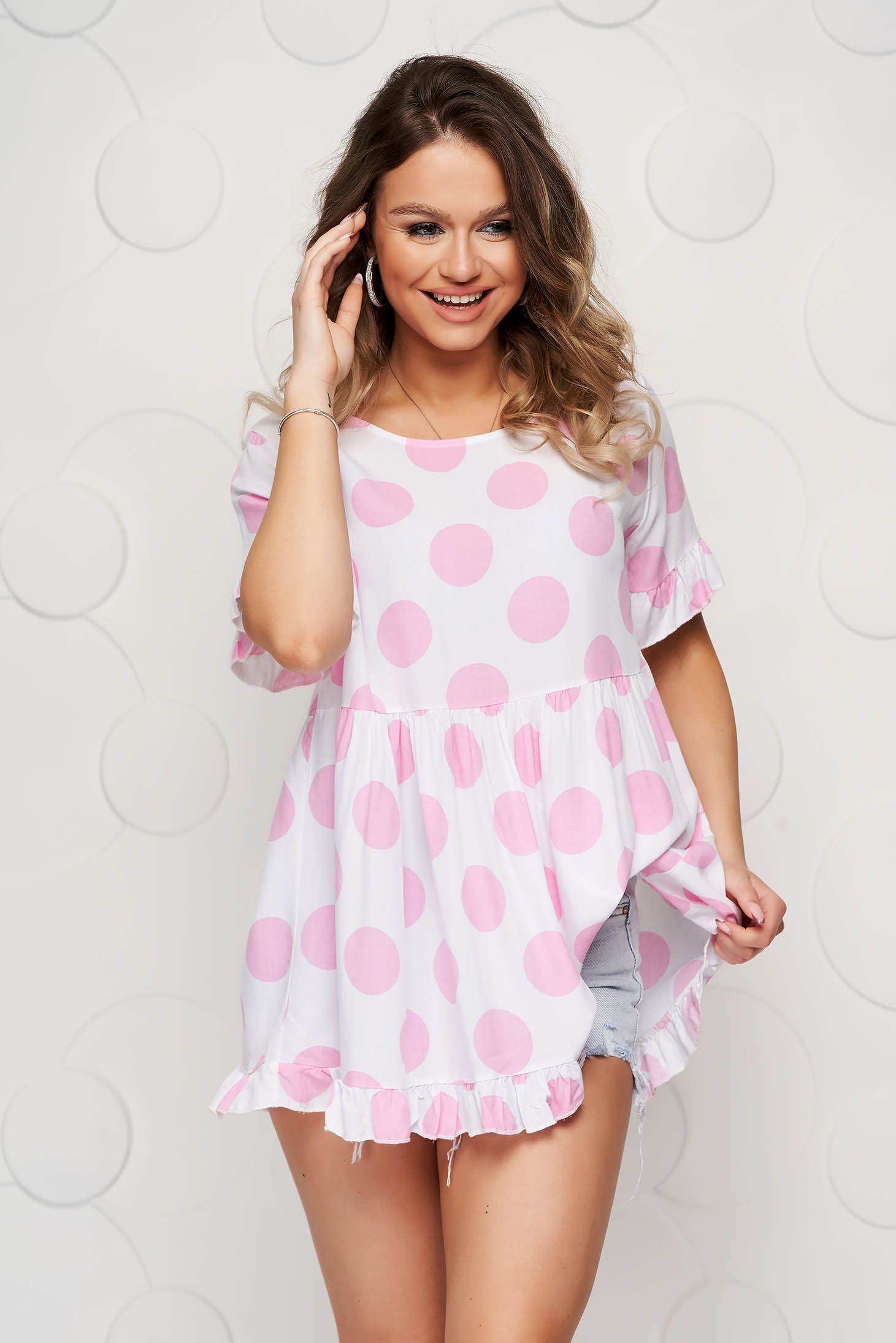 Women`s blouse dots print loose fit with ruffle details airy fabric